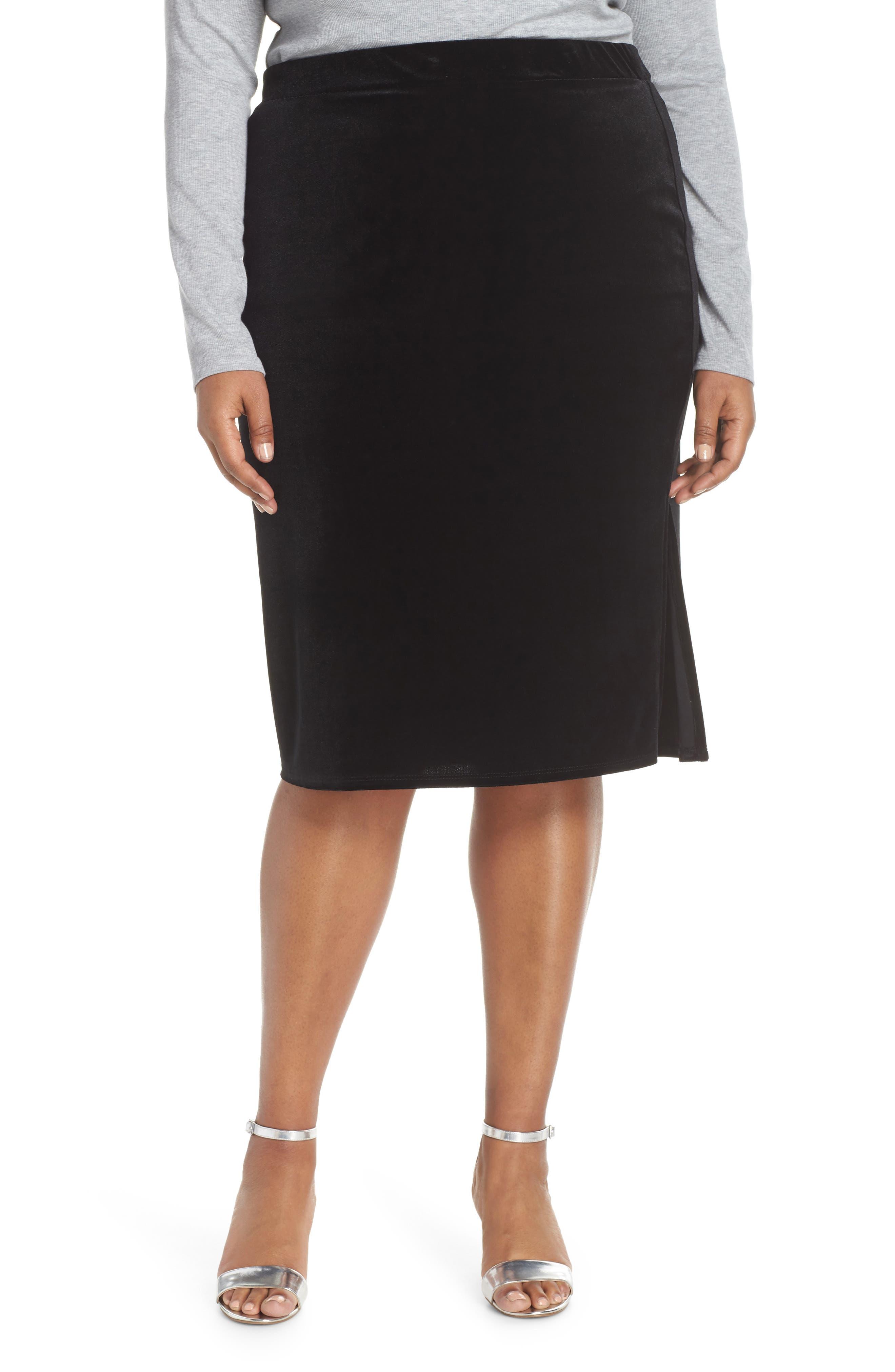 Plus Size Halogen Velvet Side Slit Pencil Skirt, Black