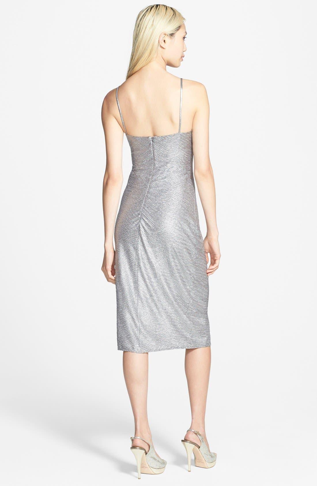 Metallic Shirred Dress,                             Alternate thumbnail 4, color,                             040