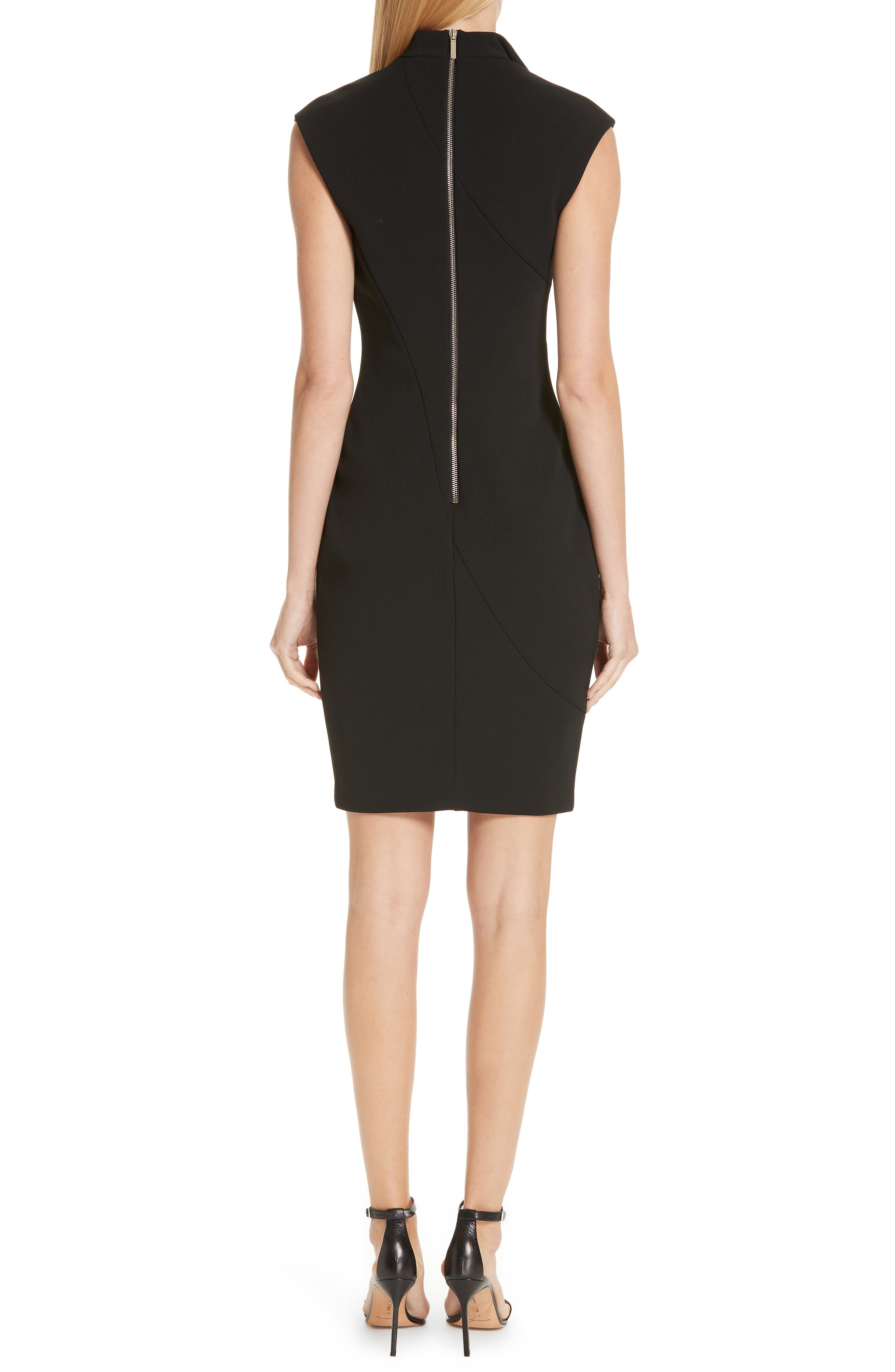 Geodese Faux Wrap Pencil Dress,                             Alternate thumbnail 2, color,                             BLACK