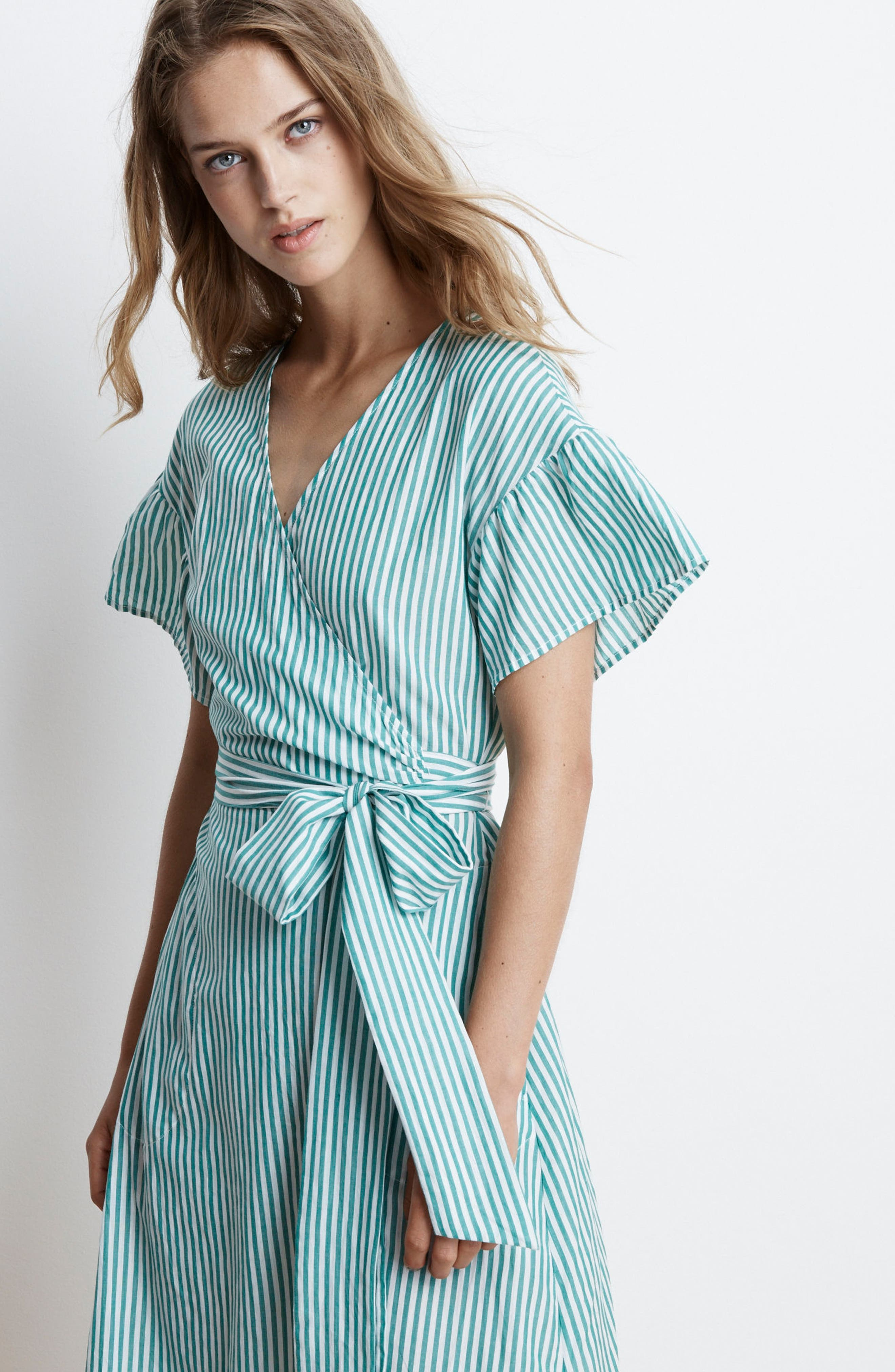 Stripe Cotton Wrap Dress,                             Alternate thumbnail 7, color,                             389