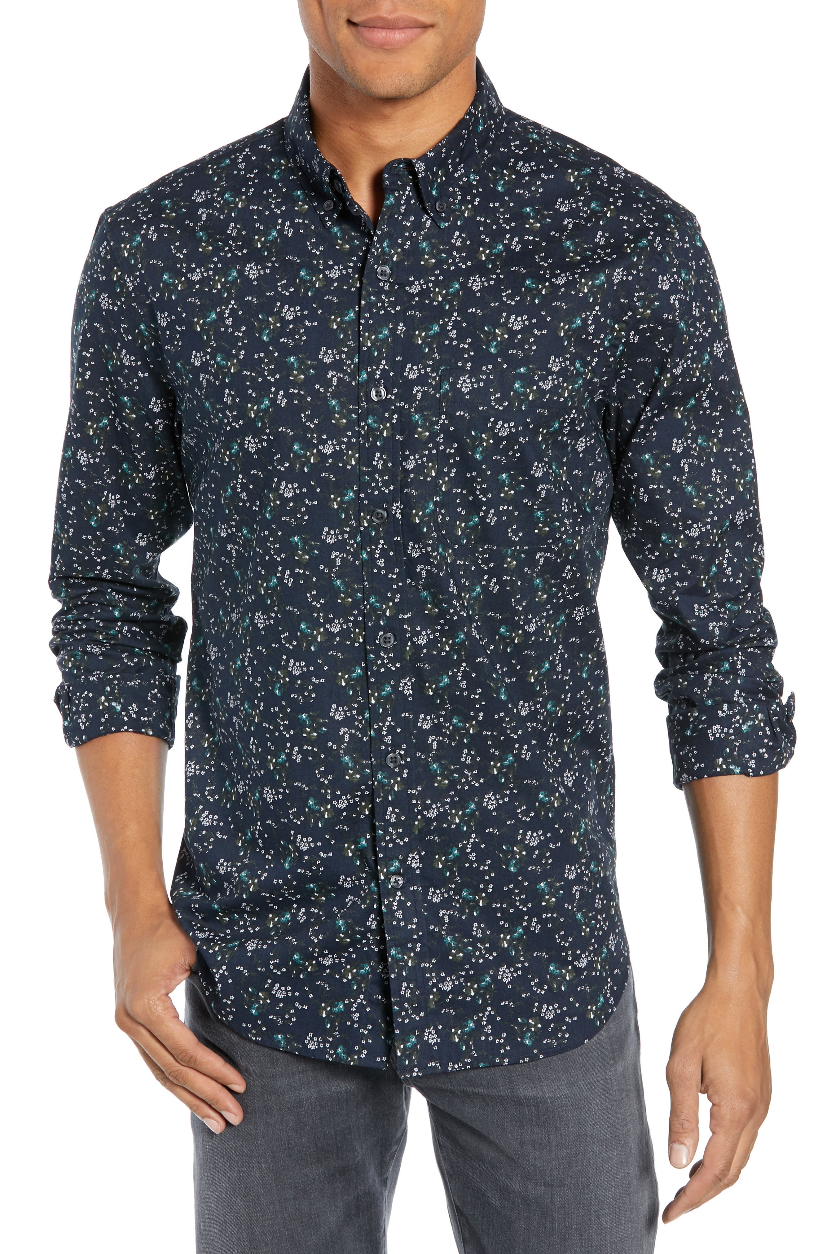 Winding Daisy Trim Fit Sport Shirt,                         Main,                         color, NAVY MULTI