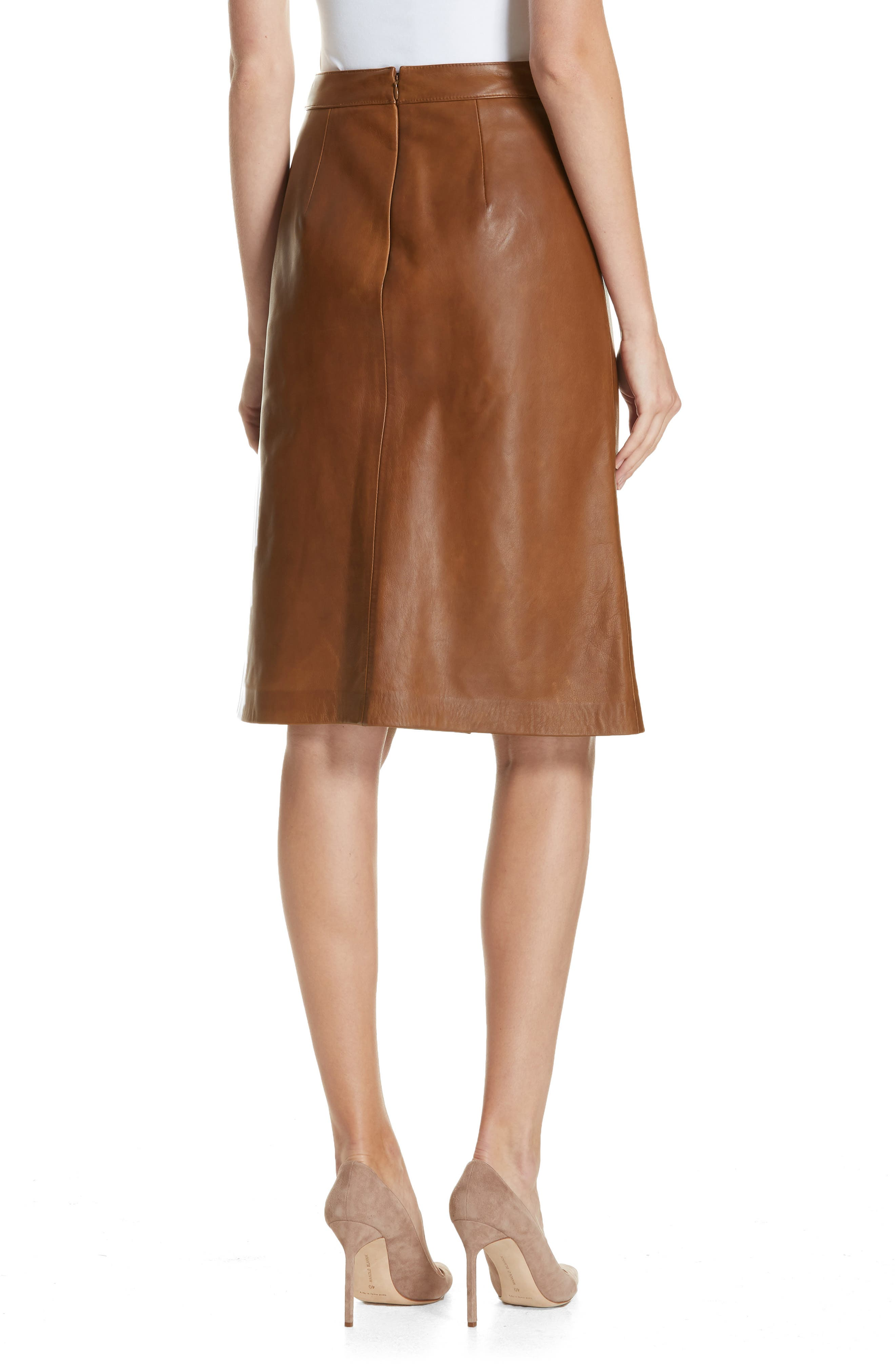 Faux Wrap Leather Skirt,                             Alternate thumbnail 2, color,                             RUST BISQUE