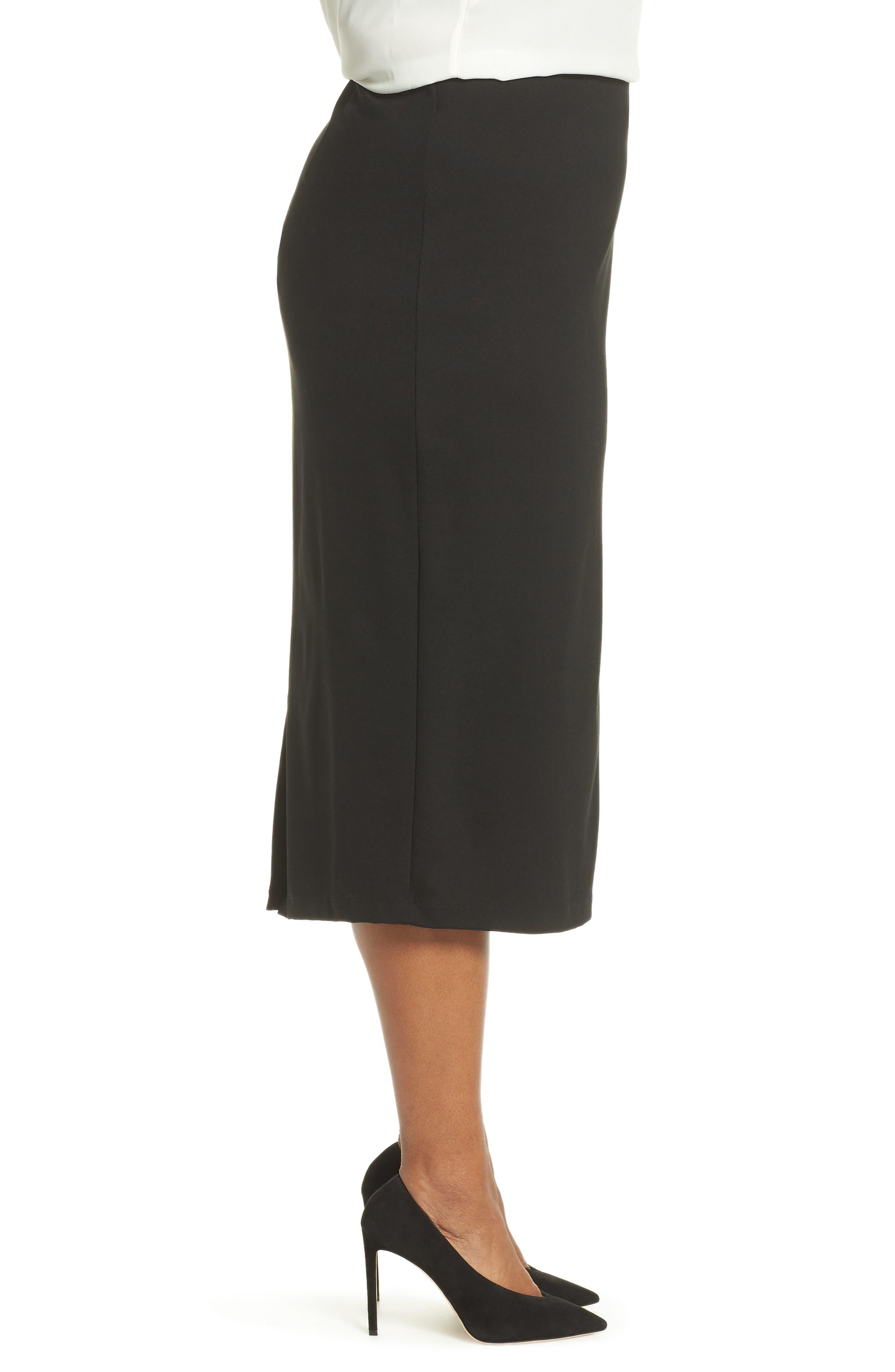 Ponte Pencil Skirt,                             Alternate thumbnail 3, color,                             BLACK