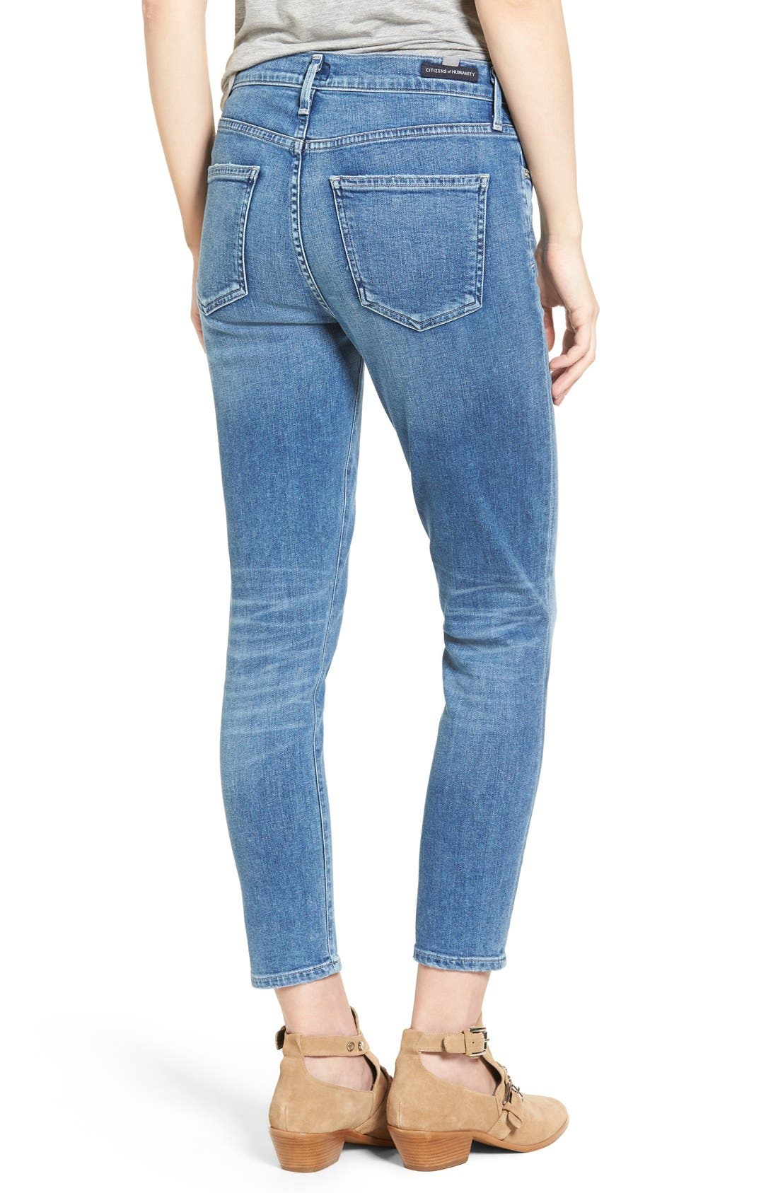 Rocket High Waist Crop Skinny Jeans,                             Alternate thumbnail 3, color,