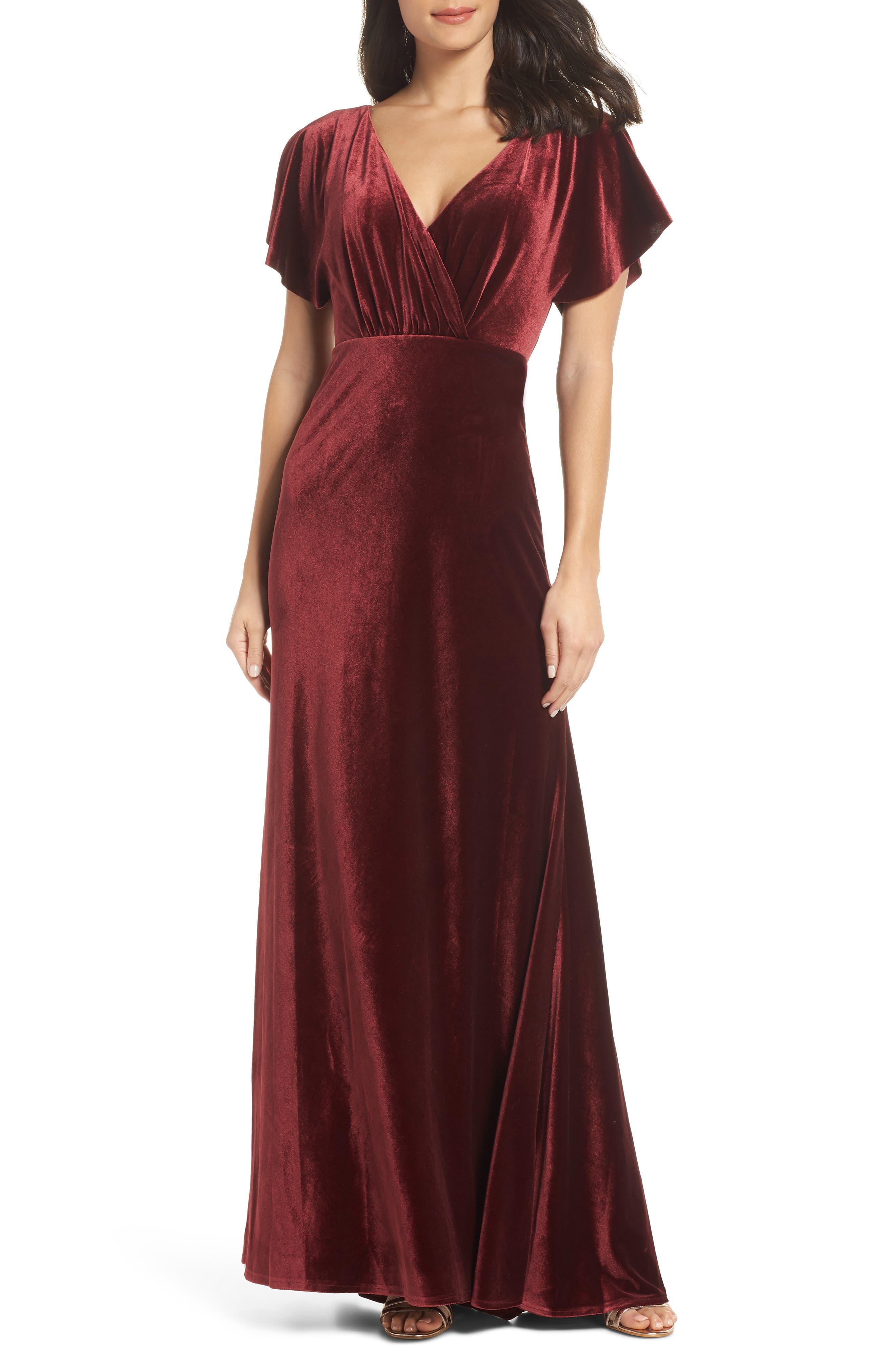 JENNY YOO Ellis Flutter Sleeve Stretch Velvet Gown in Dark Berry