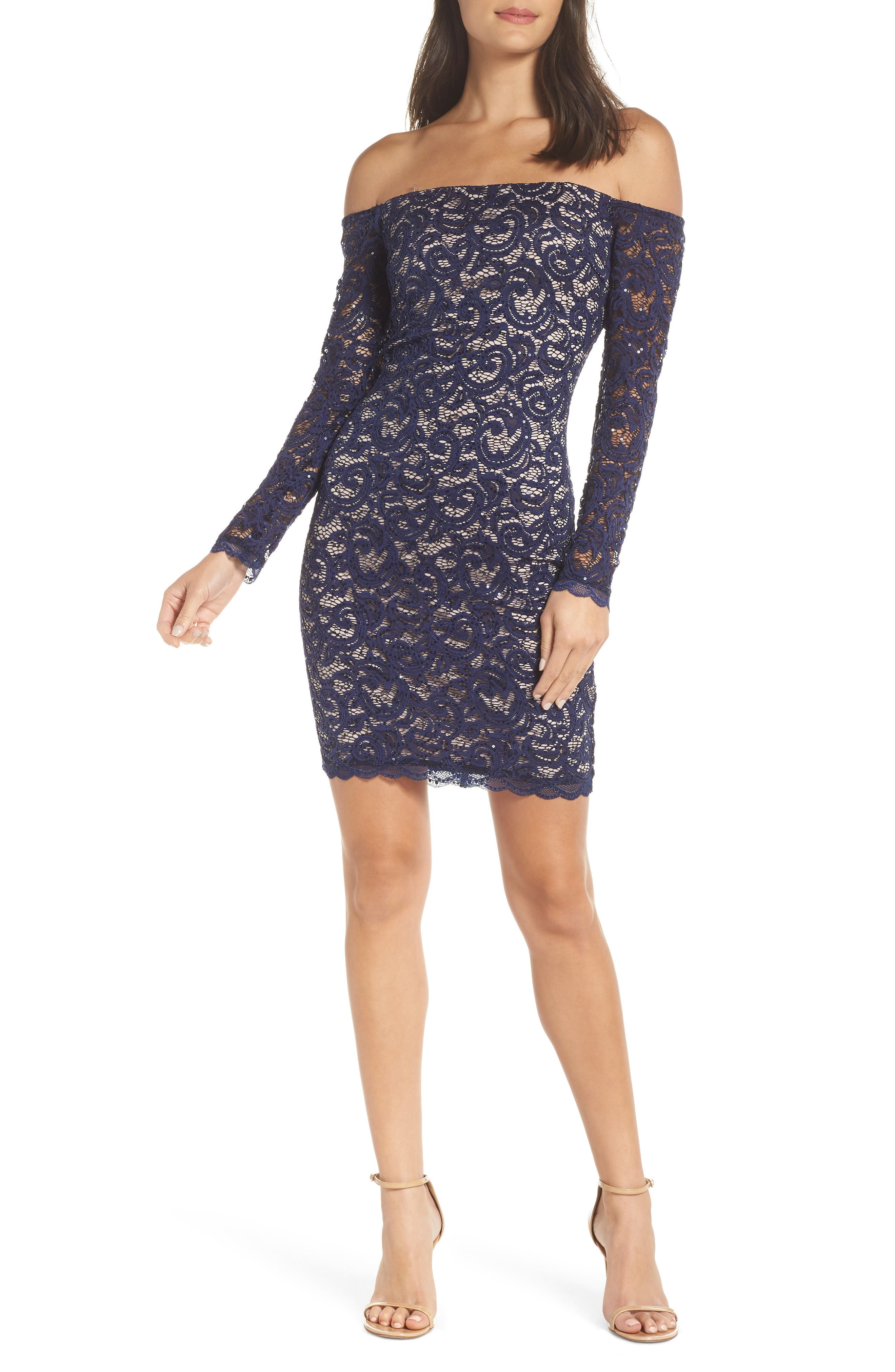 Off the Shoulder Long Sleeve Lace Cocktail Dress,                         Main,                         color, NAVY