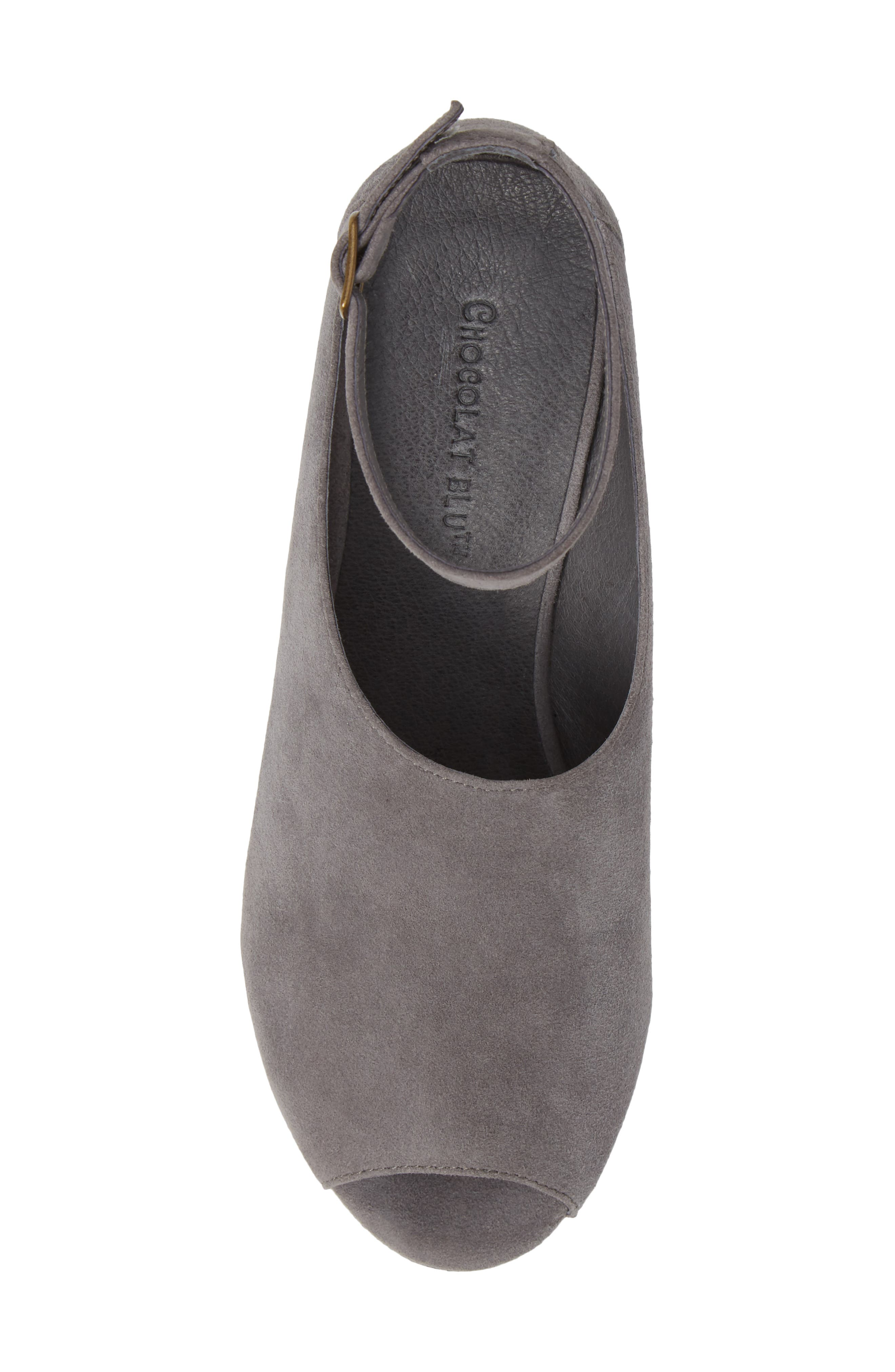 Walter Ankle Strap Wedge Sandal,                             Alternate thumbnail 5, color,                             GREY SUEDE