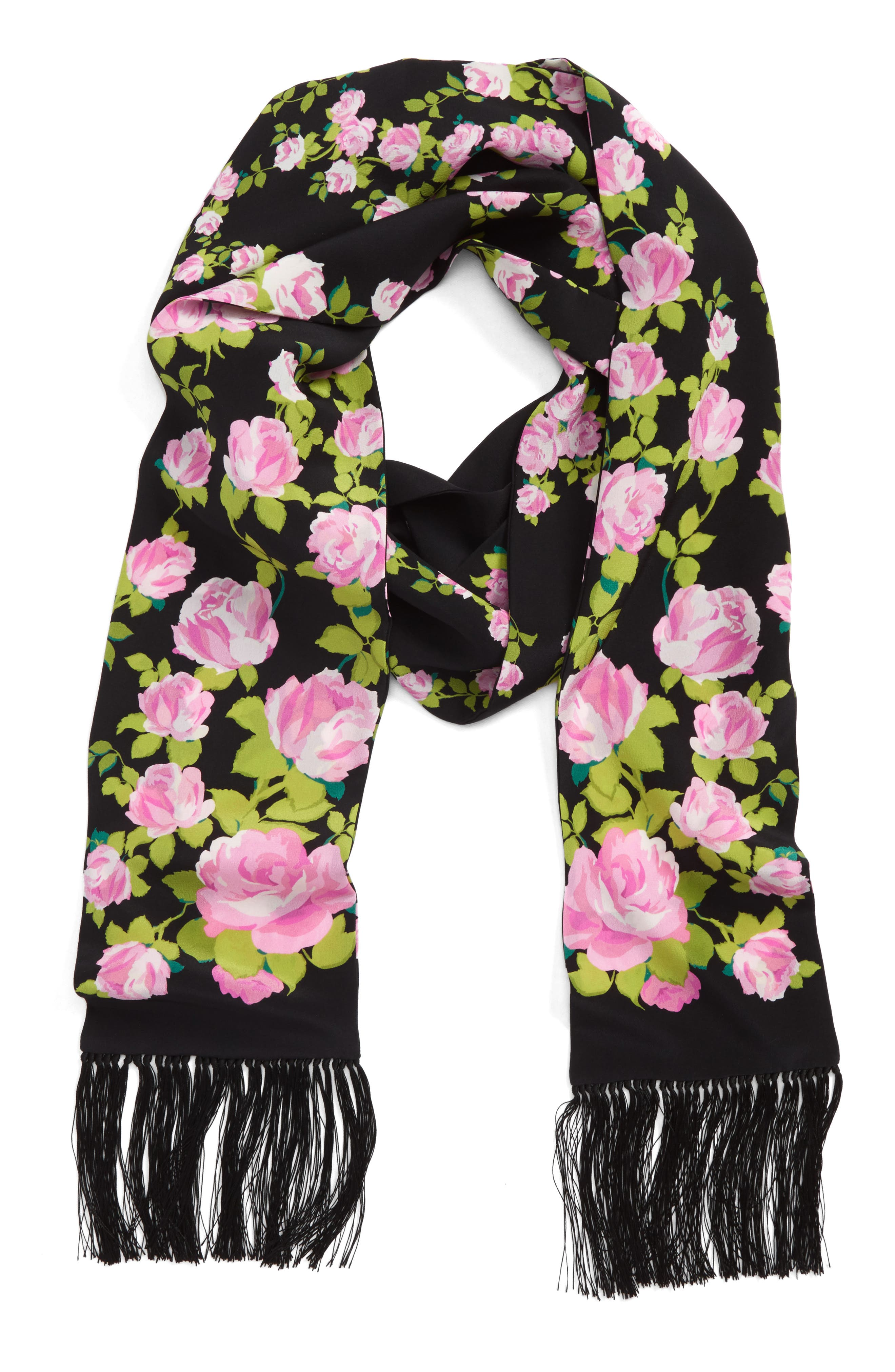 Climbing Roses Skinny Silk Scarf,                             Alternate thumbnail 3, color,