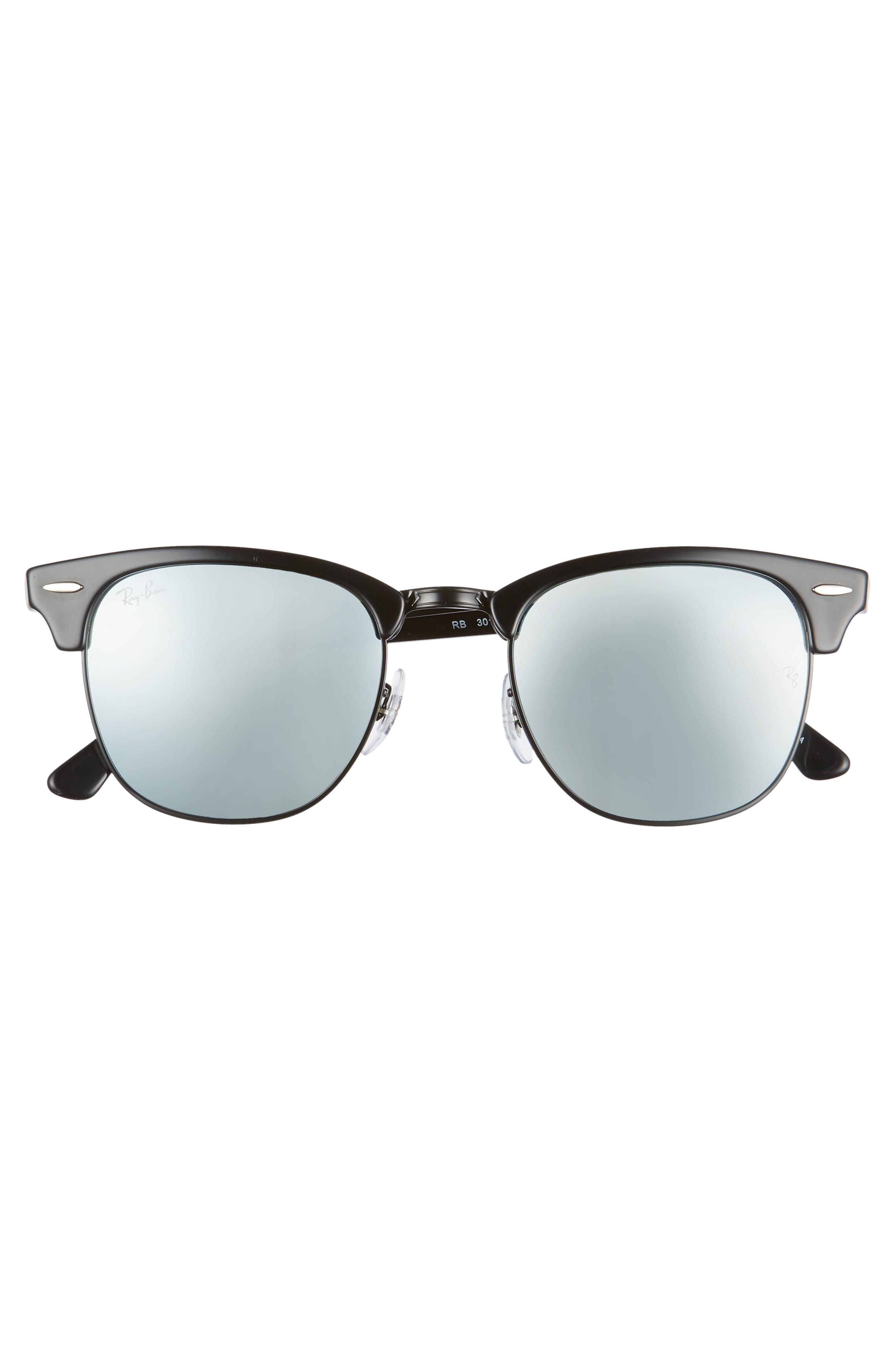 RAY-BAN,                             Standard Clubmaster 51mm Sunglasses,                             Alternate thumbnail 3, color,                             BLACK/ BLUE MIRROR