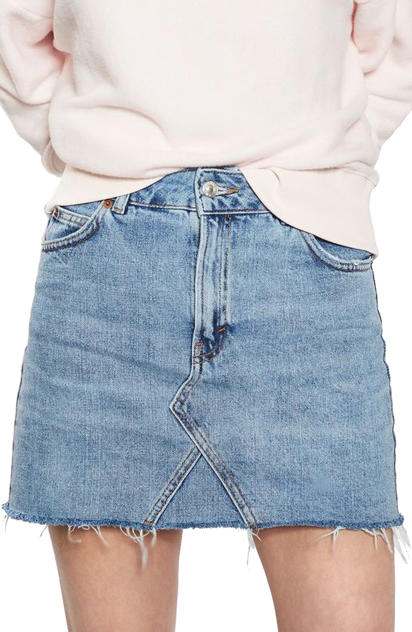 TOPSHOP,                             Denim Miniskirt,                             Main thumbnail 1, color,                             400