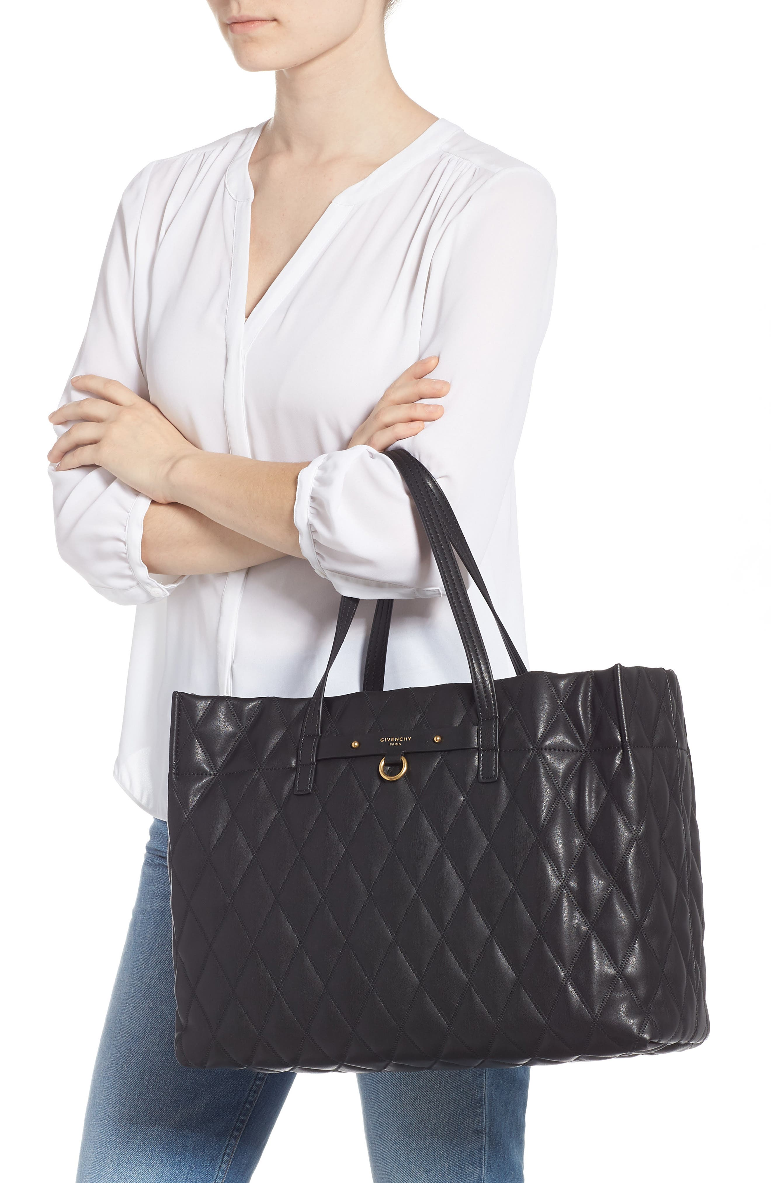 Quilted East/West Faux Leather Shopper,                             Alternate thumbnail 2, color,                             BLACK