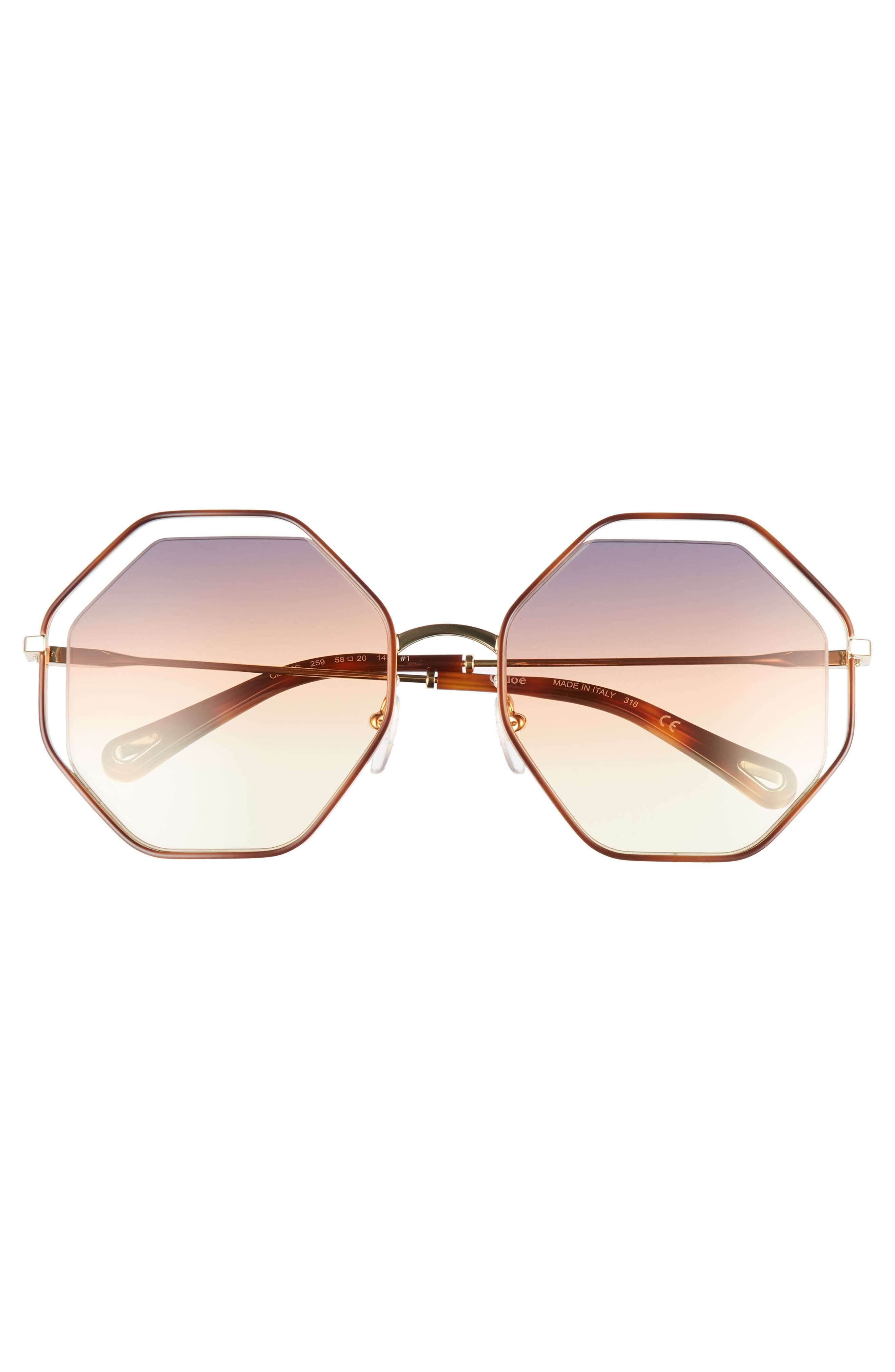 58mm Octagonal Halo Lens Sunglasses,                             Alternate thumbnail 3, color,                             HAVANA/ GREY ORANGE YELLOW