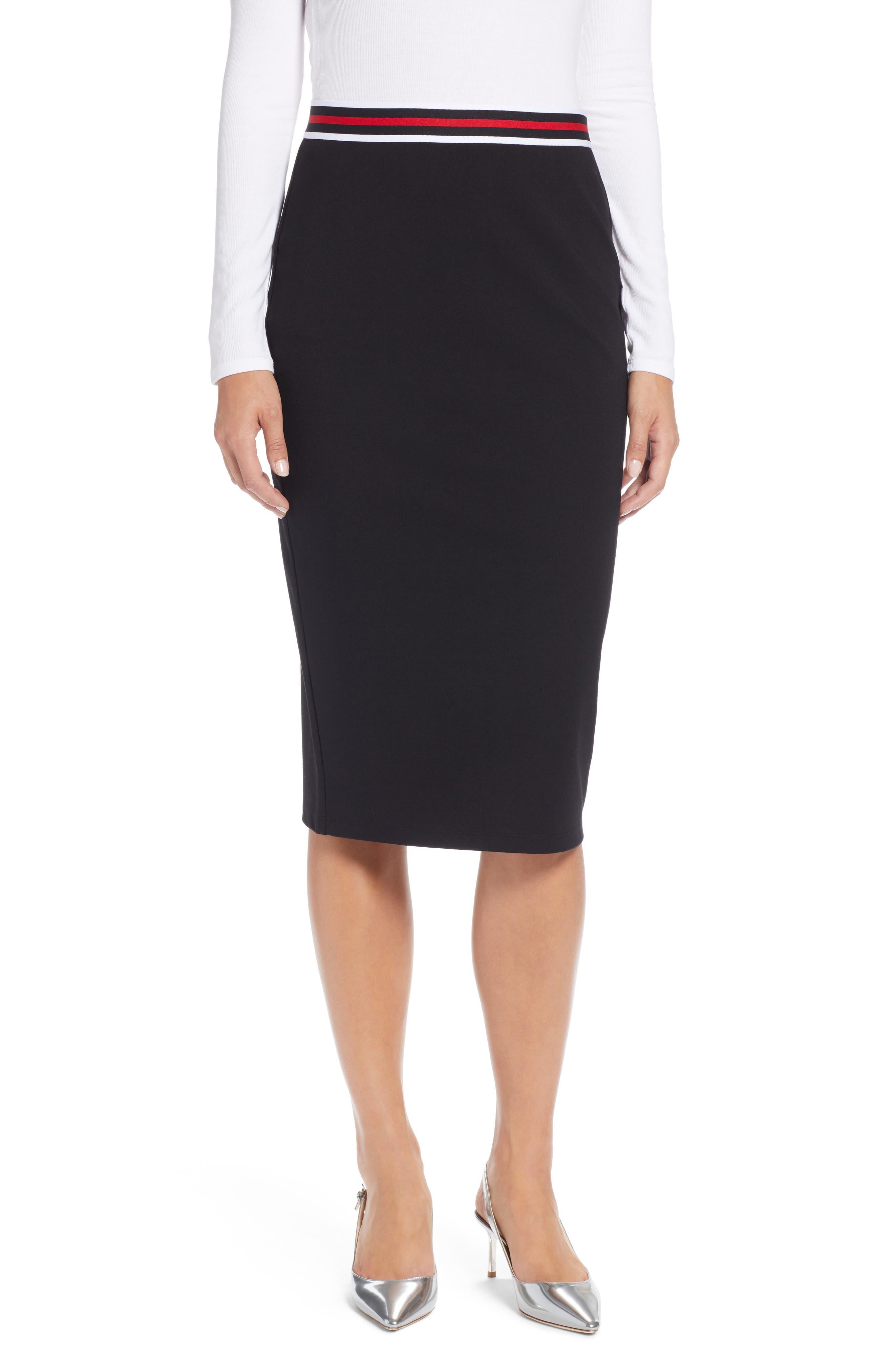 Halogen Stripe Waist Knit Pencil Skirt, Black