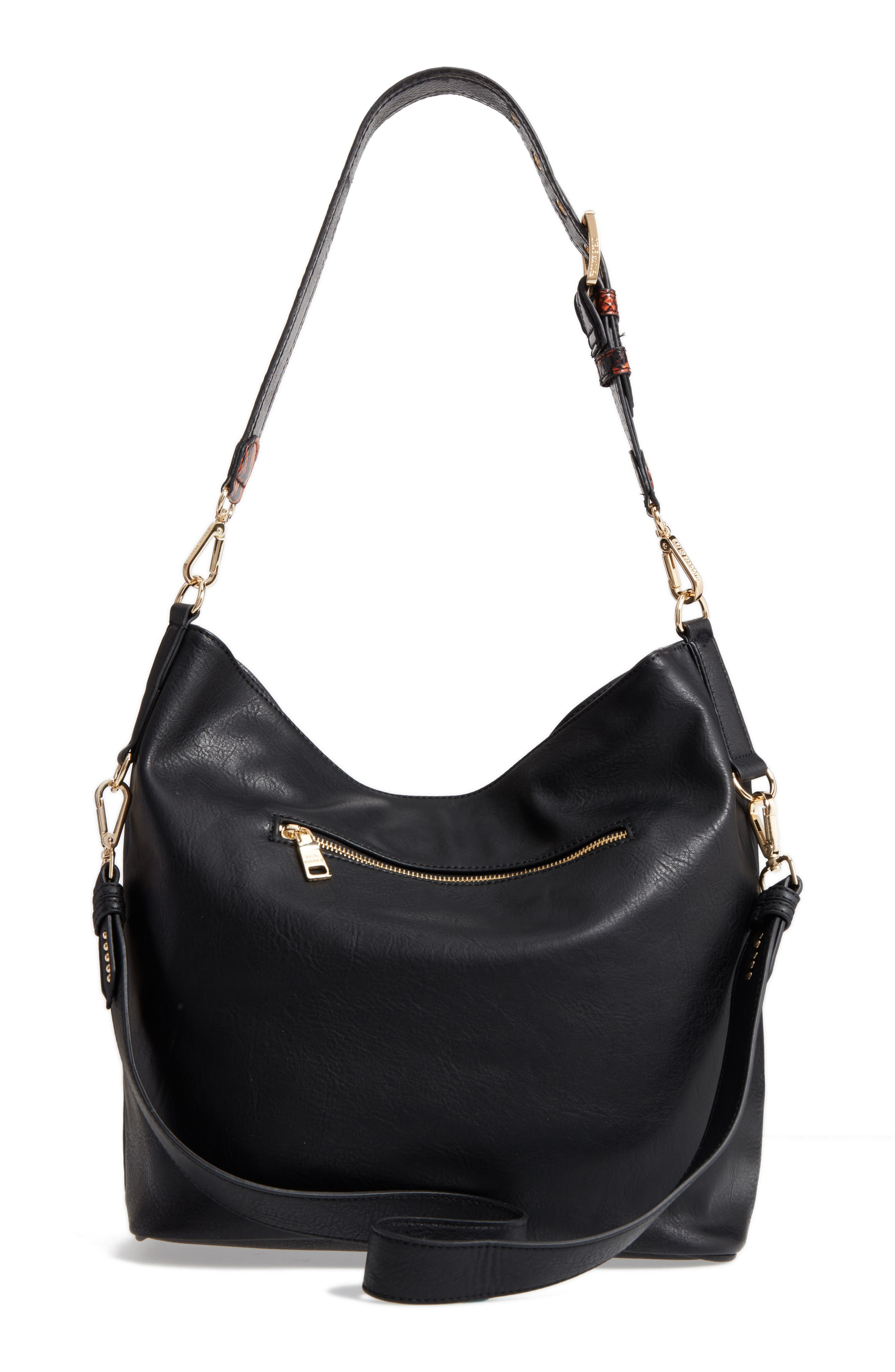 Faux Leather Hobo,                             Alternate thumbnail 3, color,                             001