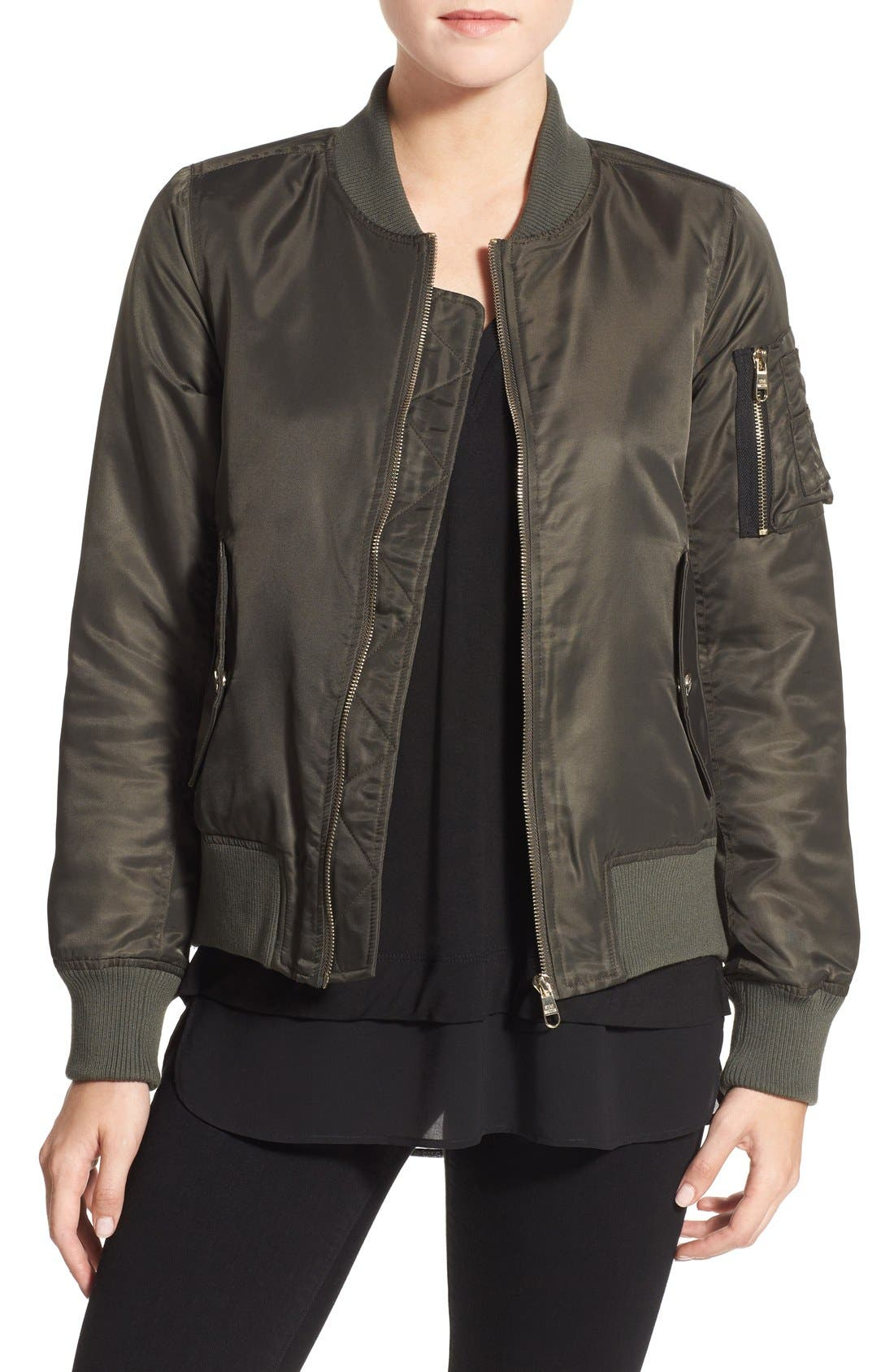 Side Zip Bomber Jacket,                             Main thumbnail 2, color,