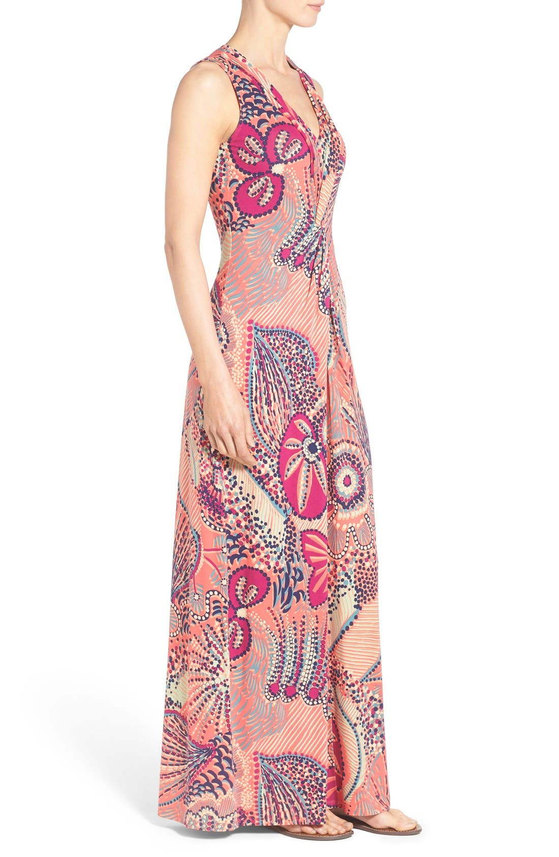 'Carnival Lights' Print V-Neck Maxi Dress,                             Alternate thumbnail 4, color,                             950