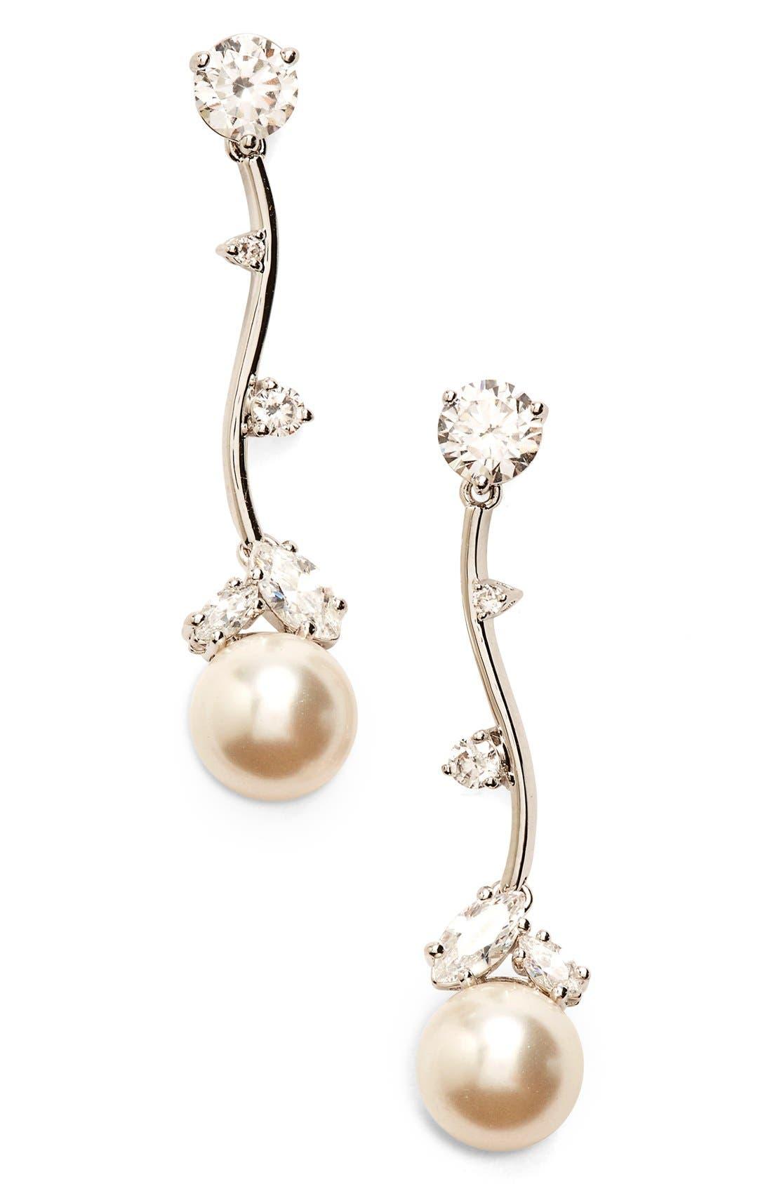 Imitation Pearl Linear Drop Earrings,                             Main thumbnail 1, color,                             IVORY