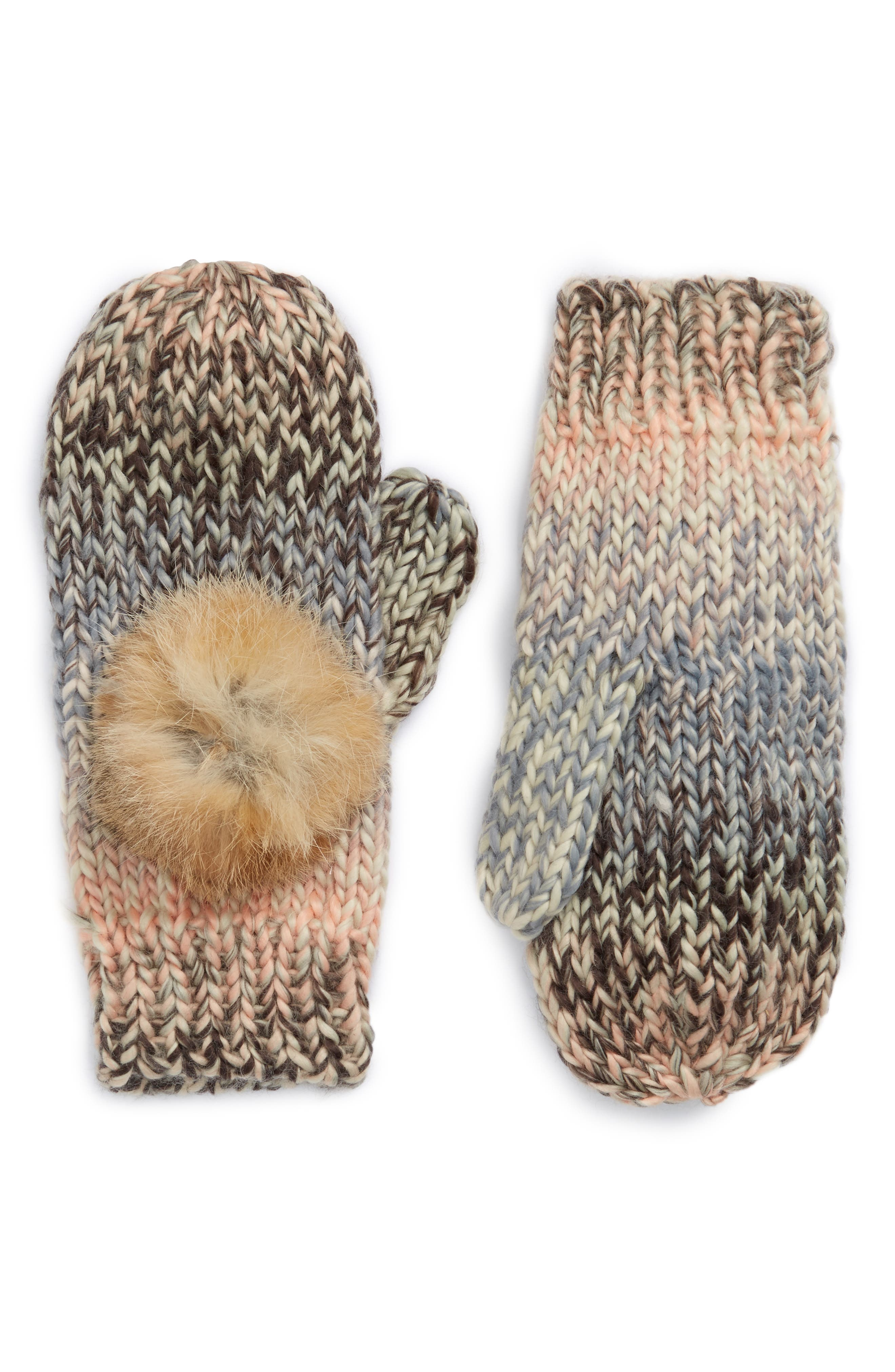 Mia Mittens with Genuine Rabbit Fur Pompoms,                             Main thumbnail 1, color,                             650