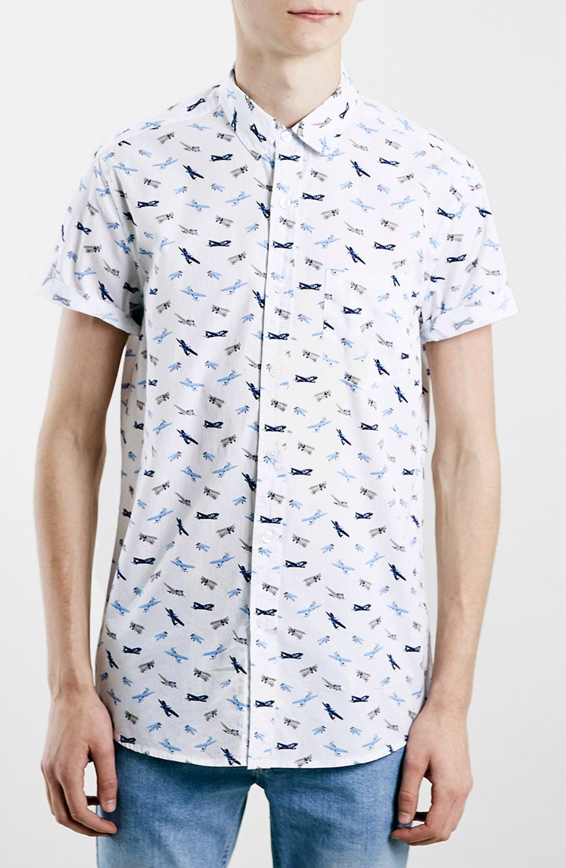 Slim Fit Short Sleeve Airplane Print Shirt, Main, color, 100