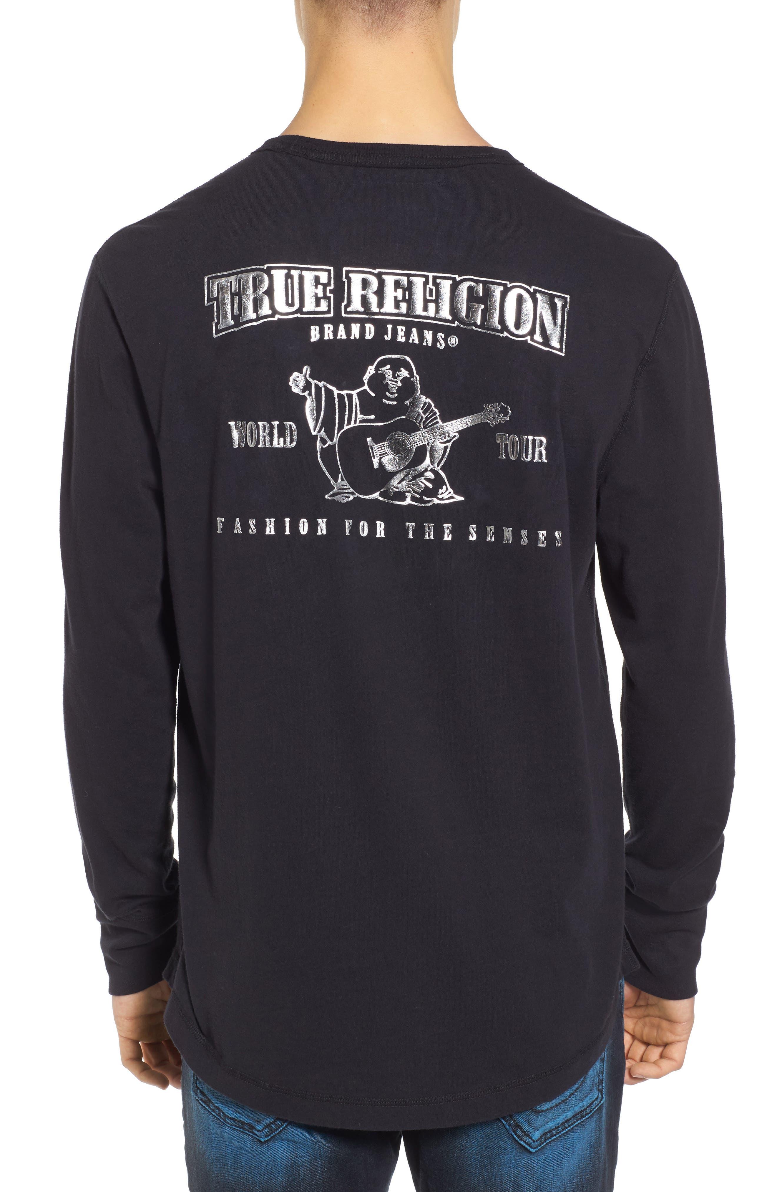 True Religion Core Metallic T-Shirt,                             Alternate thumbnail 2, color,                             001