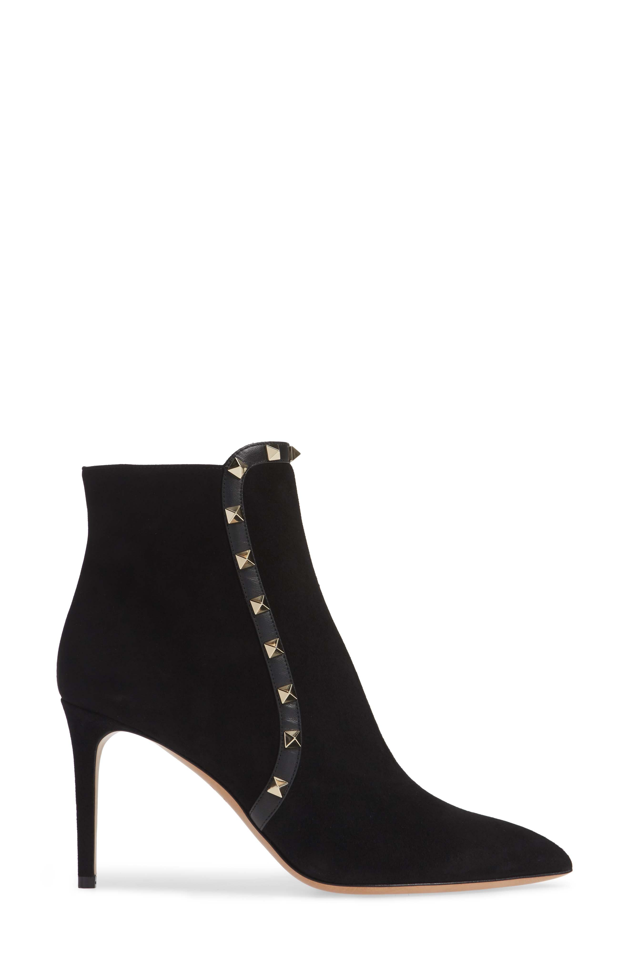 VALENTINO GARAVANI,                             Rockstud Bootie,                             Alternate thumbnail 3, color,                             BLACK
