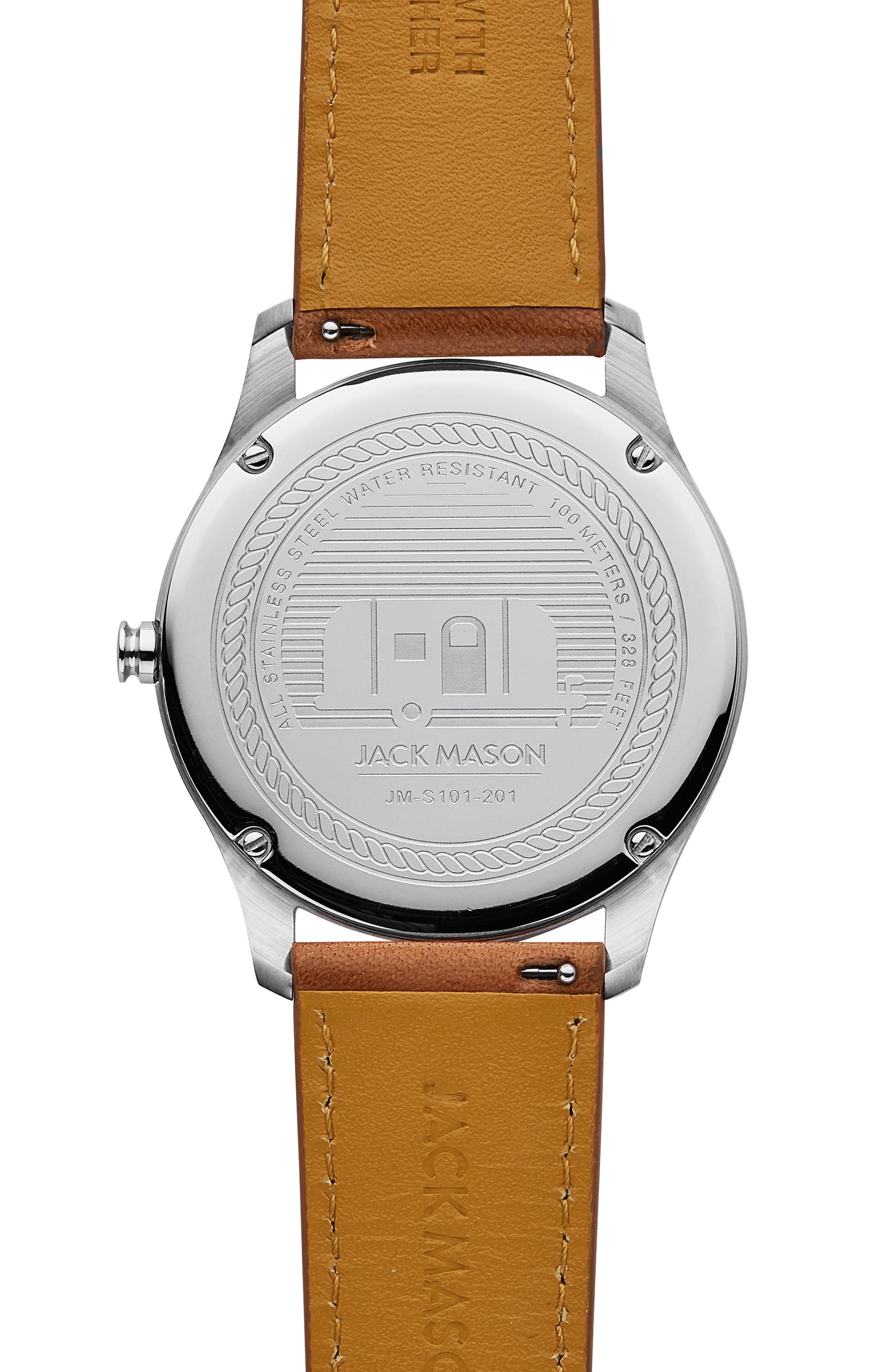 Slim Leather Strap Watch, 42mm,                             Alternate thumbnail 2, color,                             GREY/ BROWN