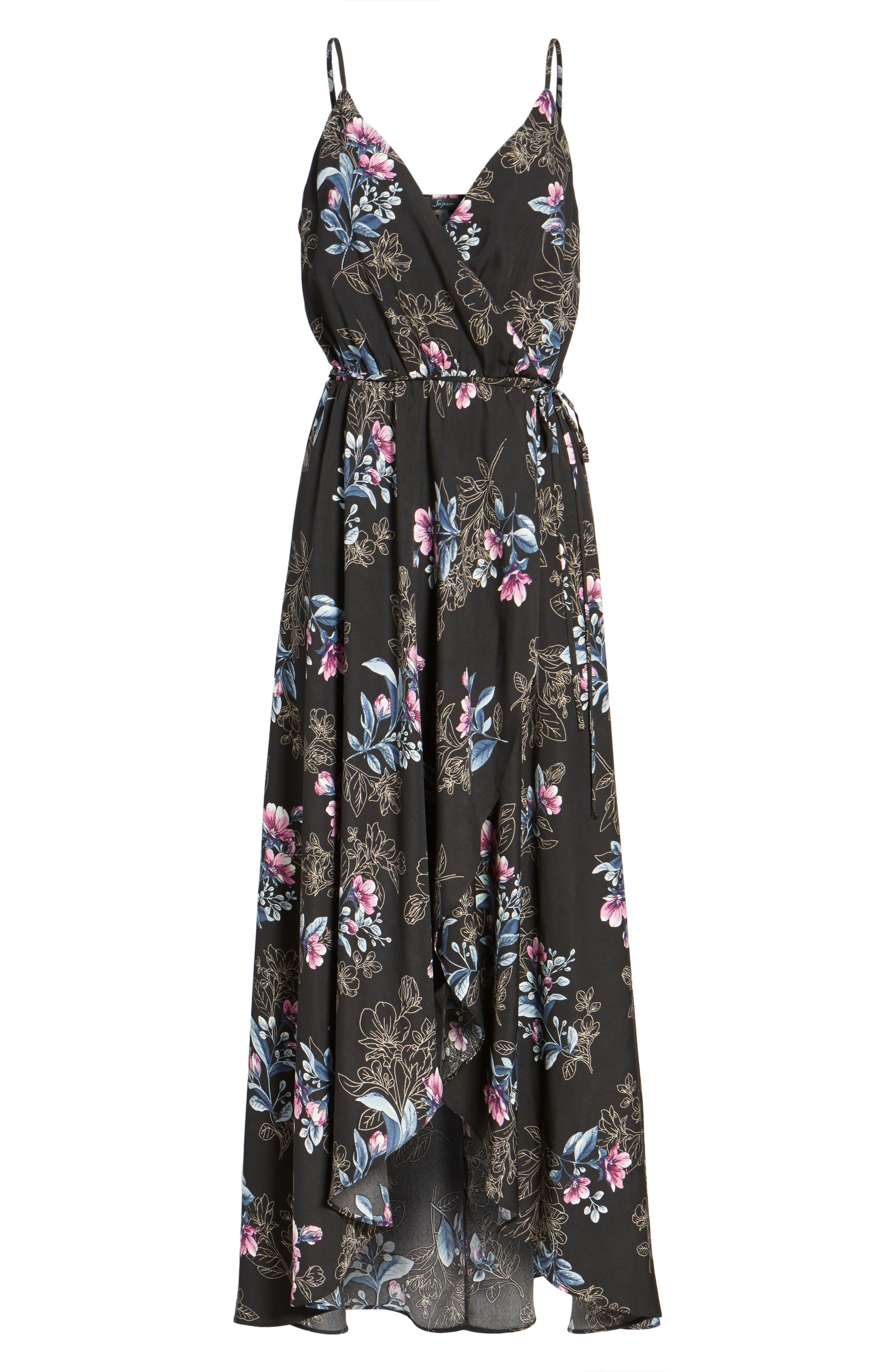 Wrap Maxi Dress,                             Alternate thumbnail 6, color,                             001