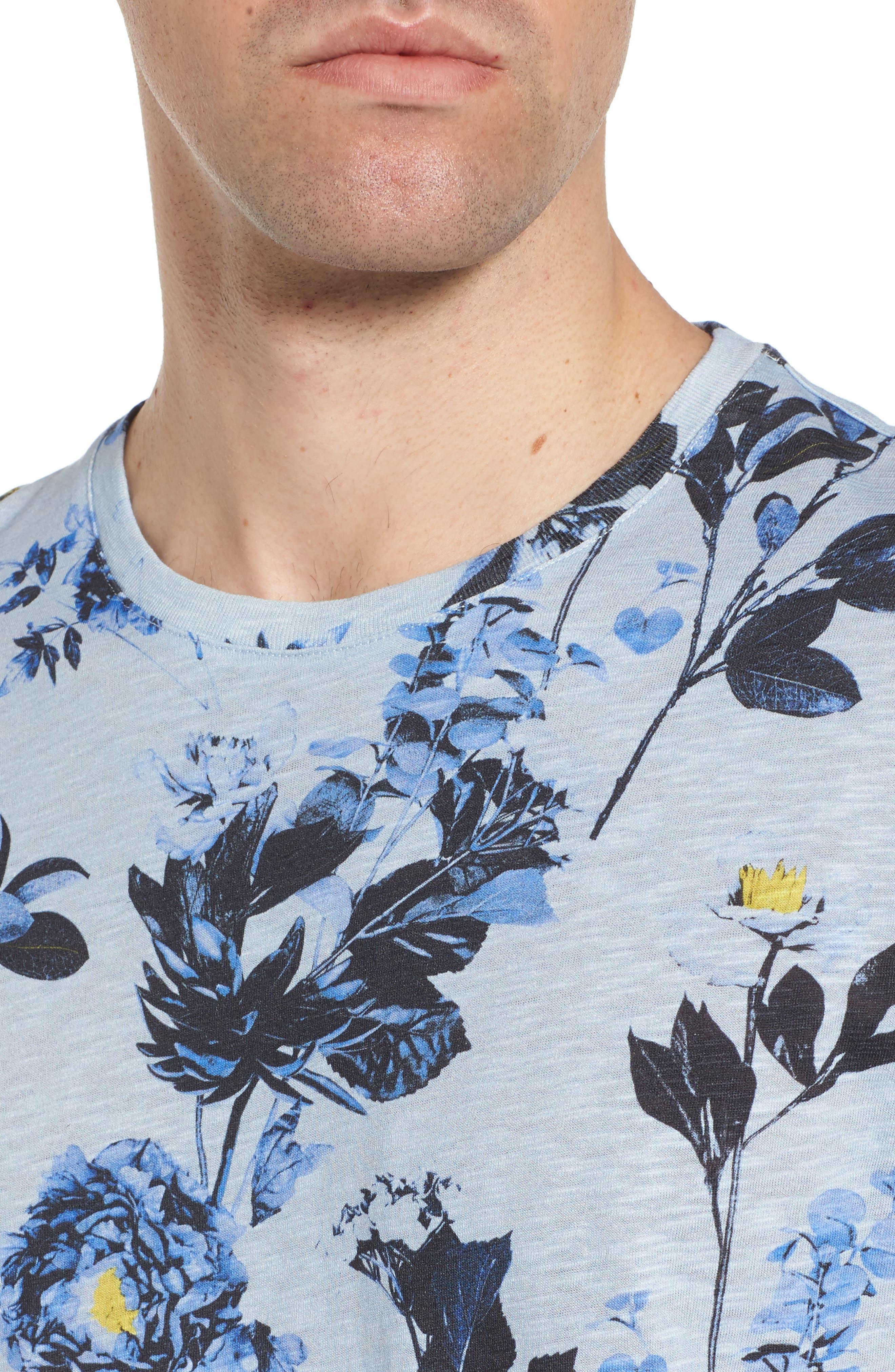 Doberma Trim Fit Floral Print T-Shirt,                             Alternate thumbnail 8, color,