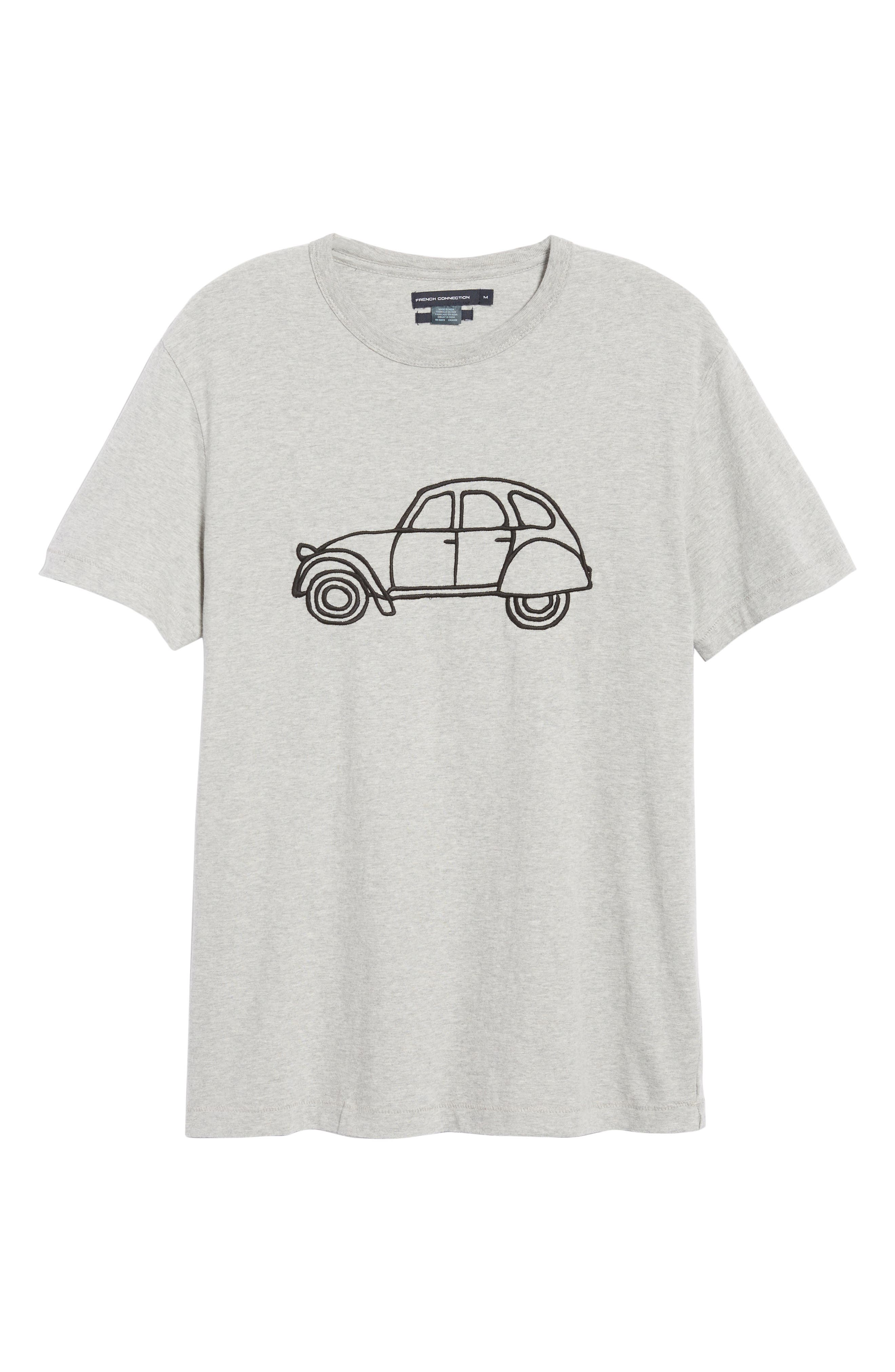 FRENCH CONNECTION,                             Embroidered Car Cotton T-Shirt,                             Alternate thumbnail 6, color,                             020
