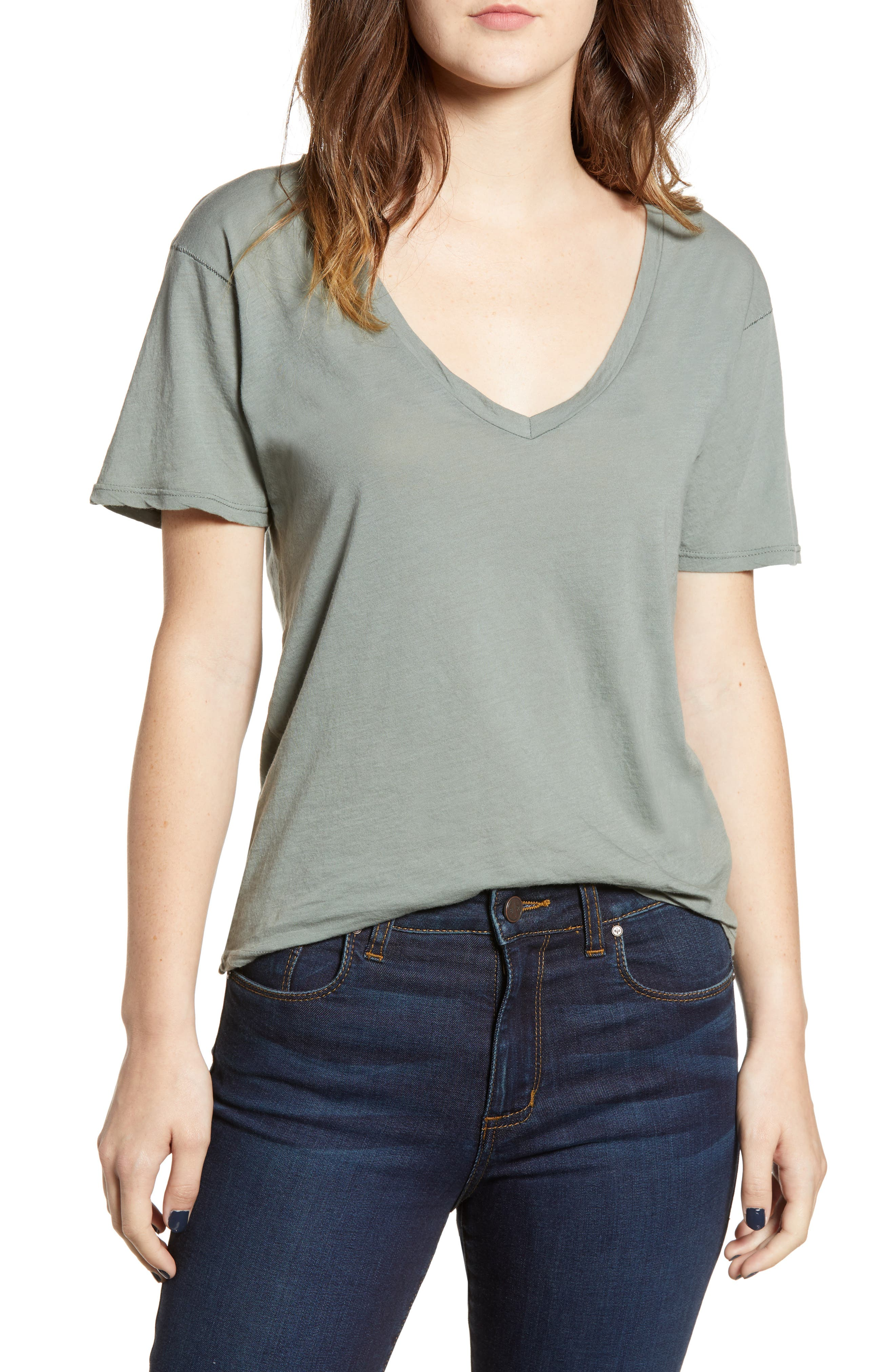 The Softest V-Neck Tee,                         Main,                         color, ROSEMARY