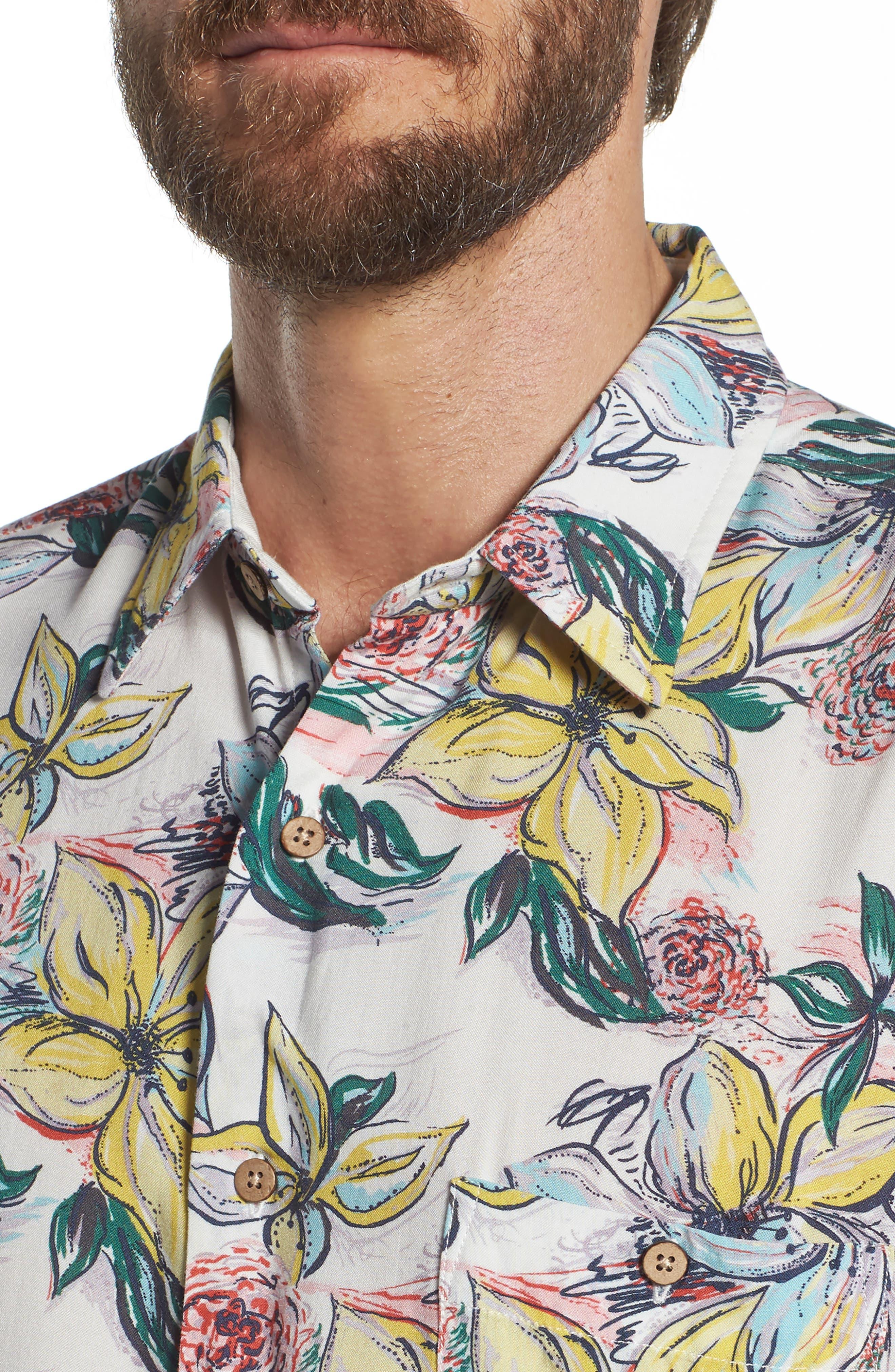 Hawaiian Print Sport Shirt,                             Alternate thumbnail 4, color,                             TROPICAL DREAMS HAWAIIAN