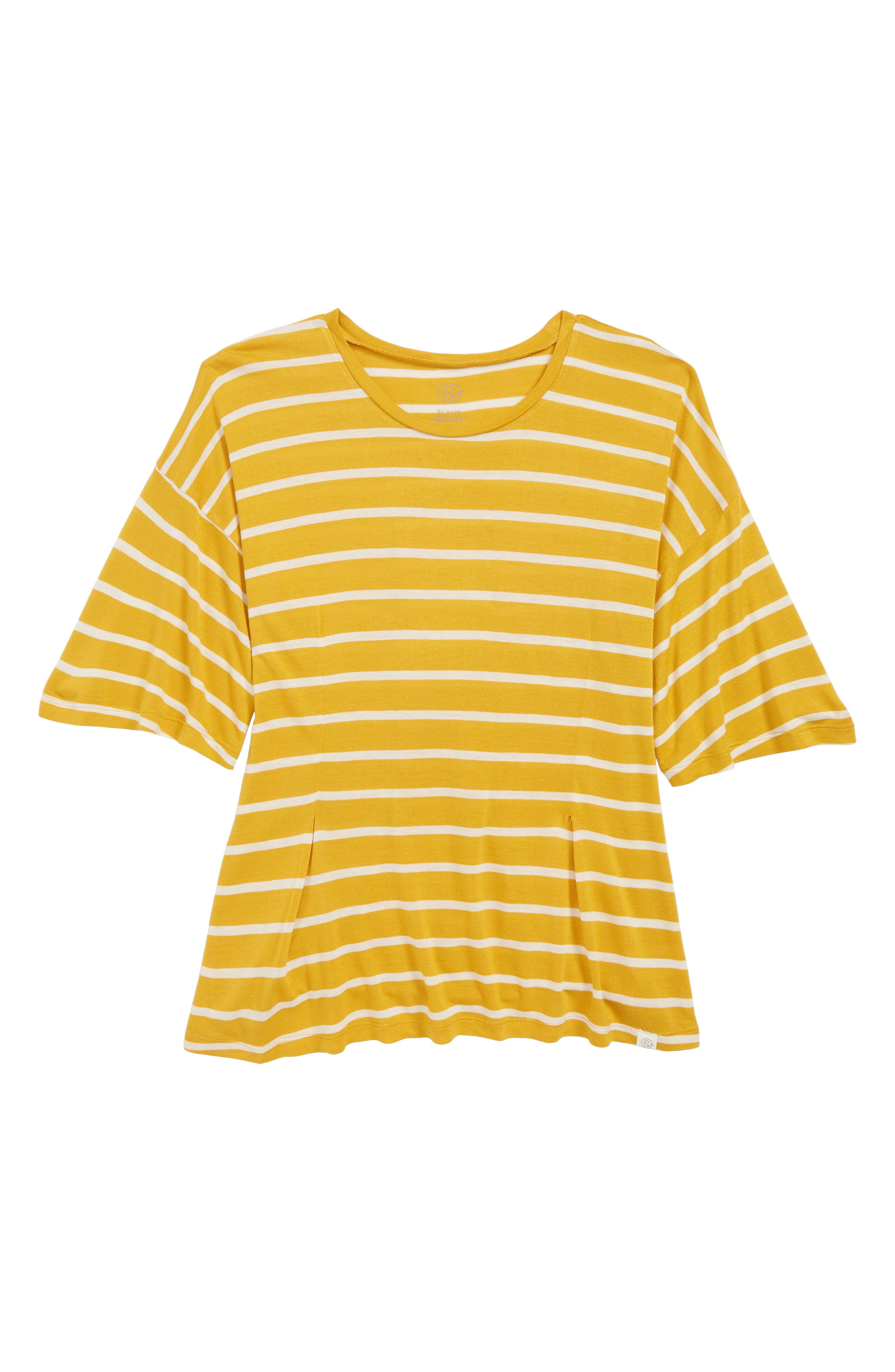 Lace-Up Back Tee,                             Main thumbnail 1, color,                             YELLOW MINERAL- IVORY STRIPE