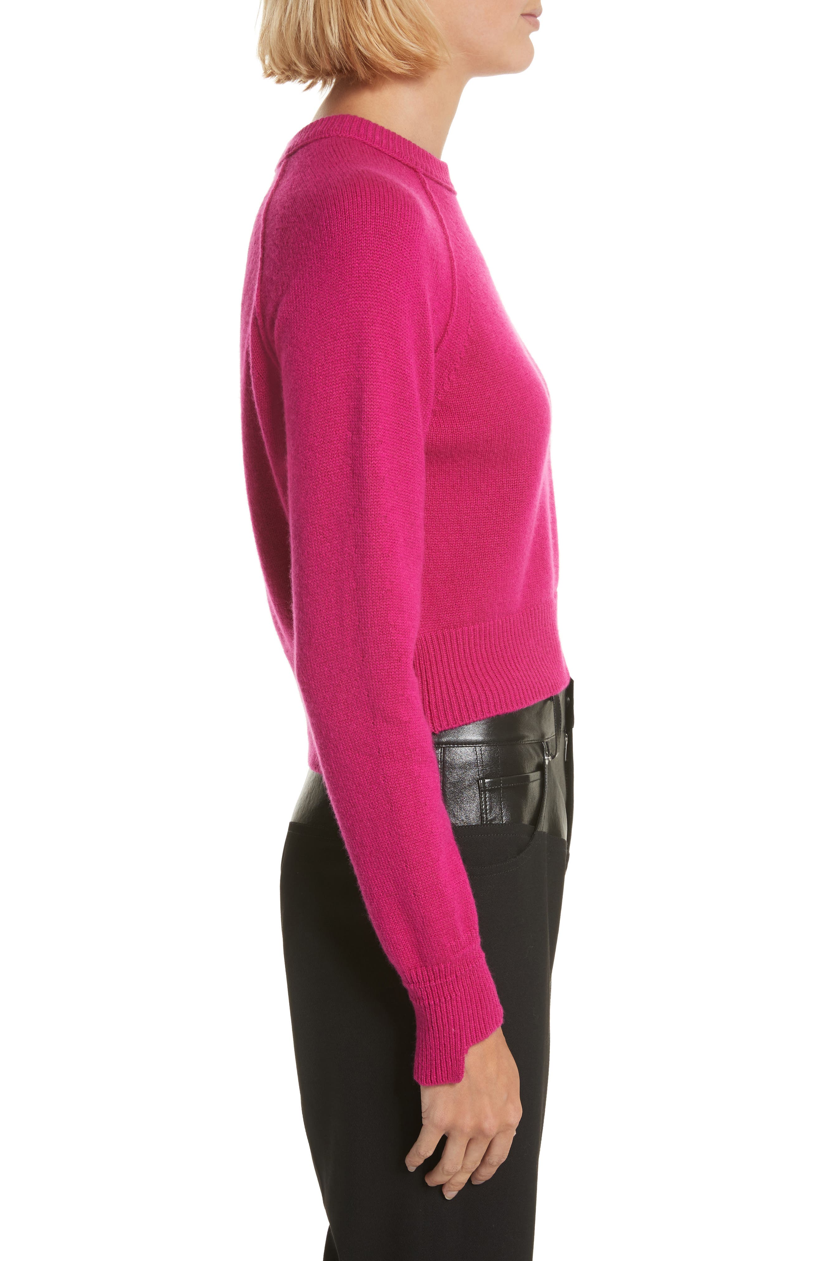 Cashmere Crop Sweater,                             Alternate thumbnail 3, color,                             655