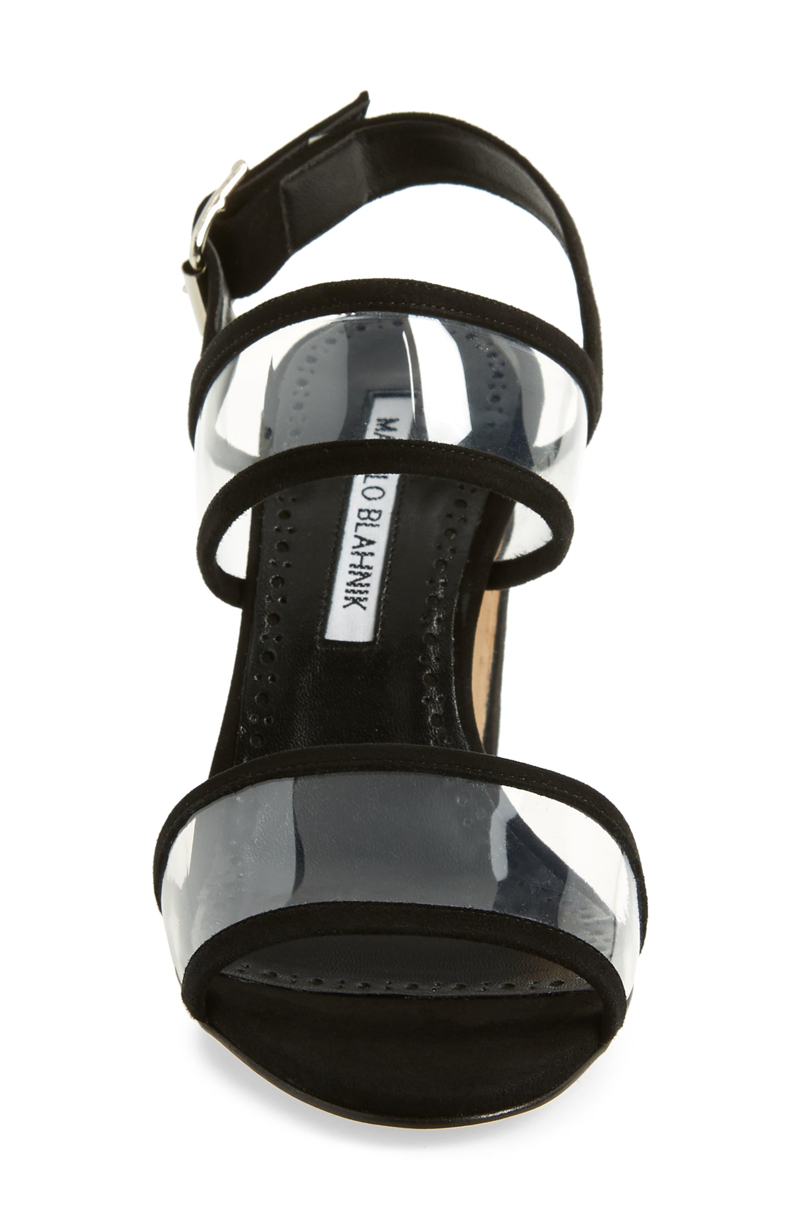 MANOLO BLAHNIK,                             Khan Two Strap Sandal,                             Alternate thumbnail 4, color,                             BLACK SUEDE