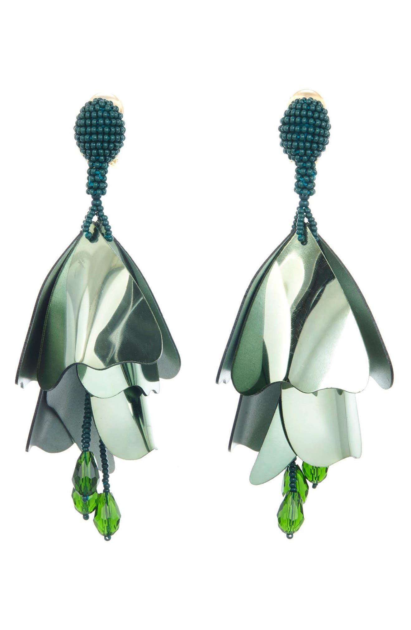 Large Impatiens Flower Clip Earrings,                             Main thumbnail 3, color,