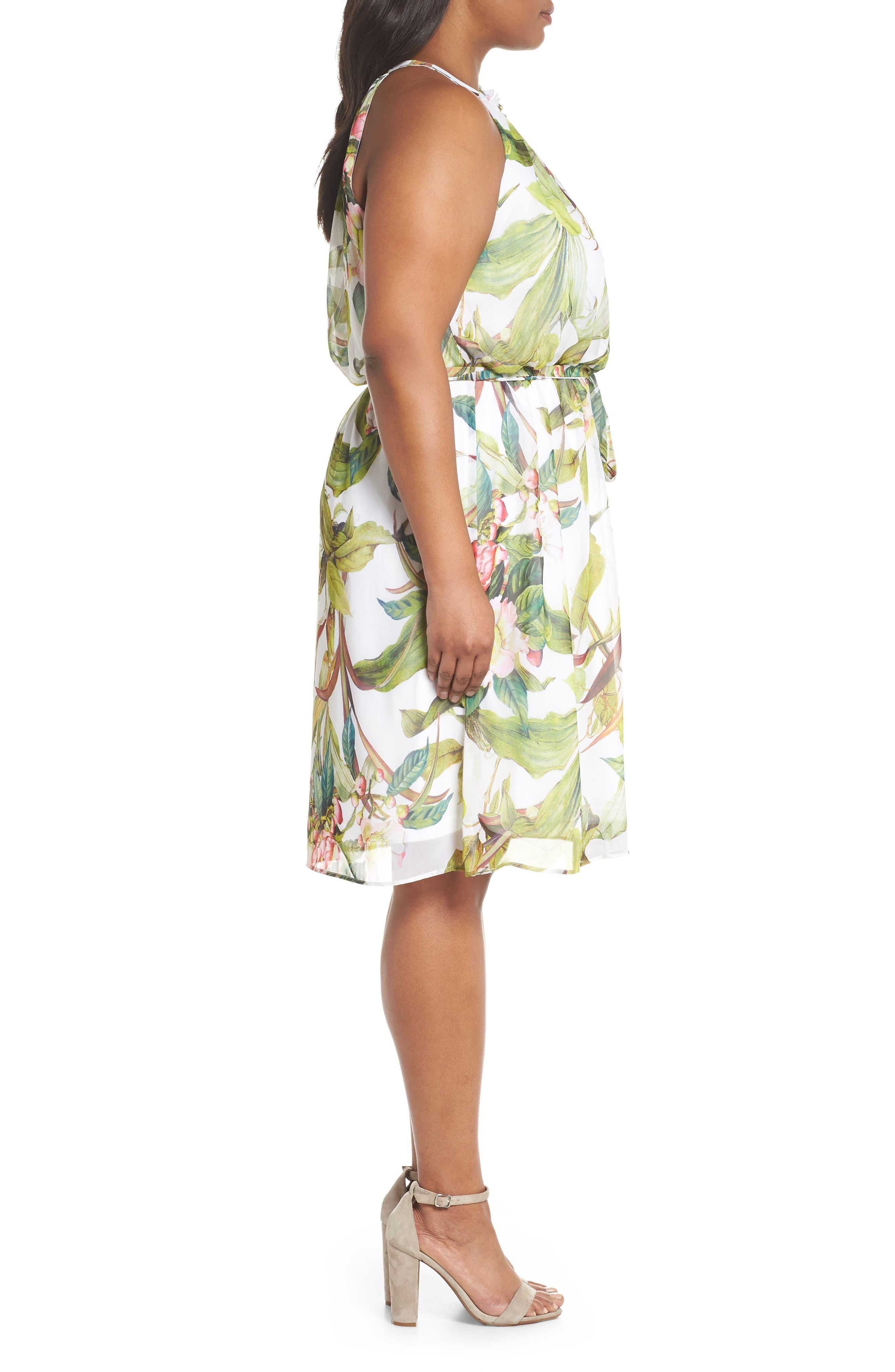 Adrianne Papell Tahitian Tropics Blouson Halter Dress,                             Alternate thumbnail 3, color,                             900