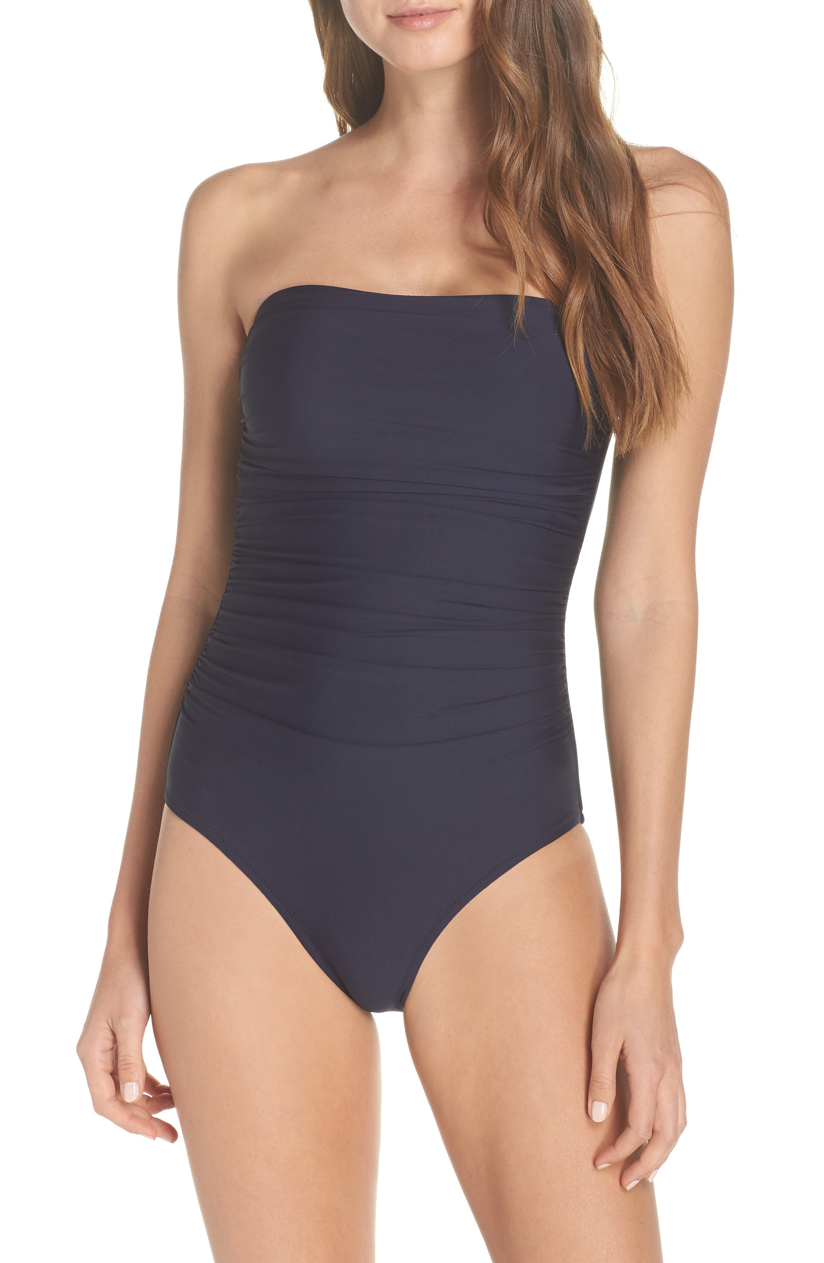 Ruched One-Piece Bandeau Swimsuit,                             Main thumbnail 1, color,                             NAVY