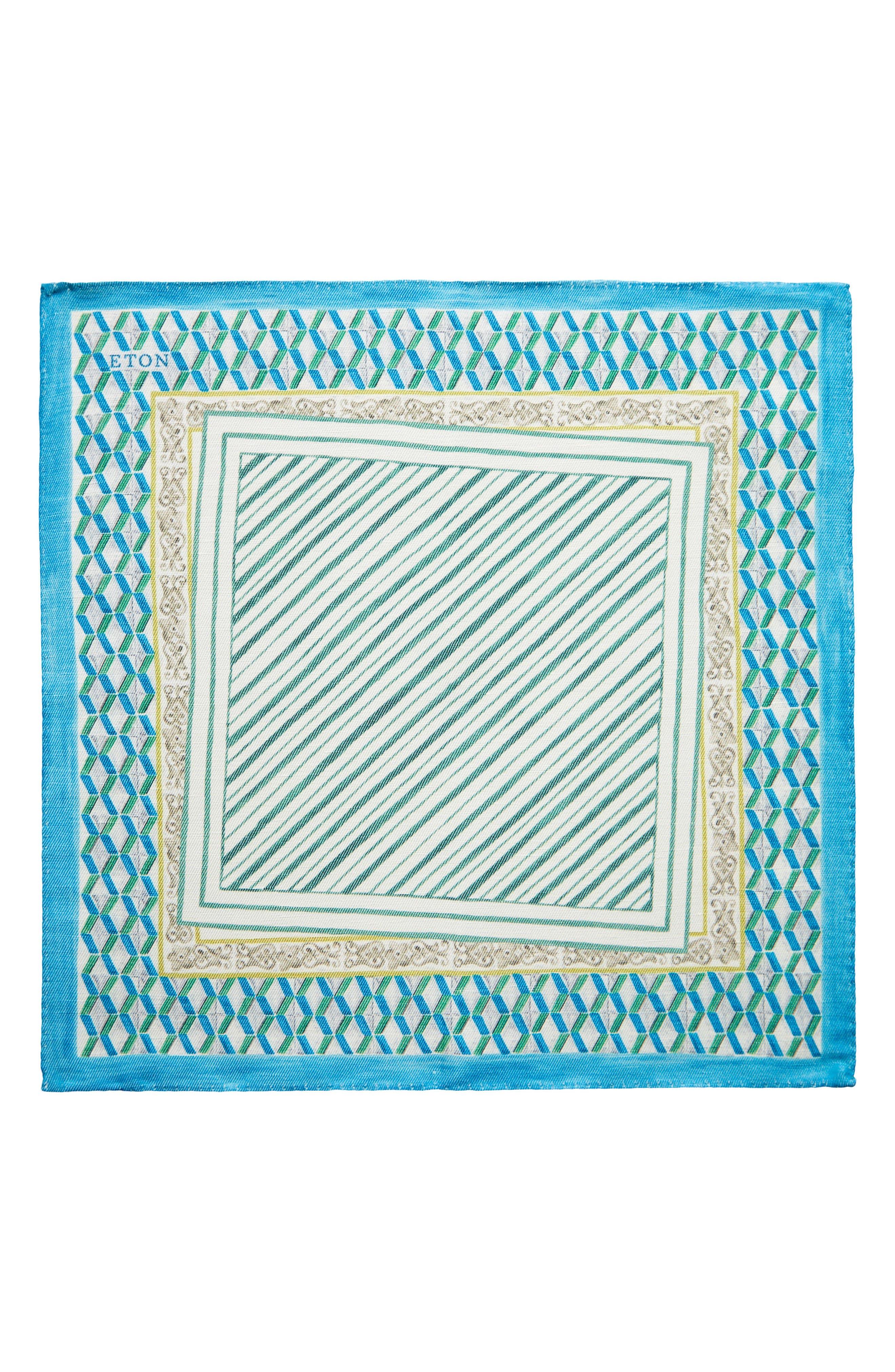 Geometric Linen & Silk Pocket Square,                             Alternate thumbnail 2, color,
