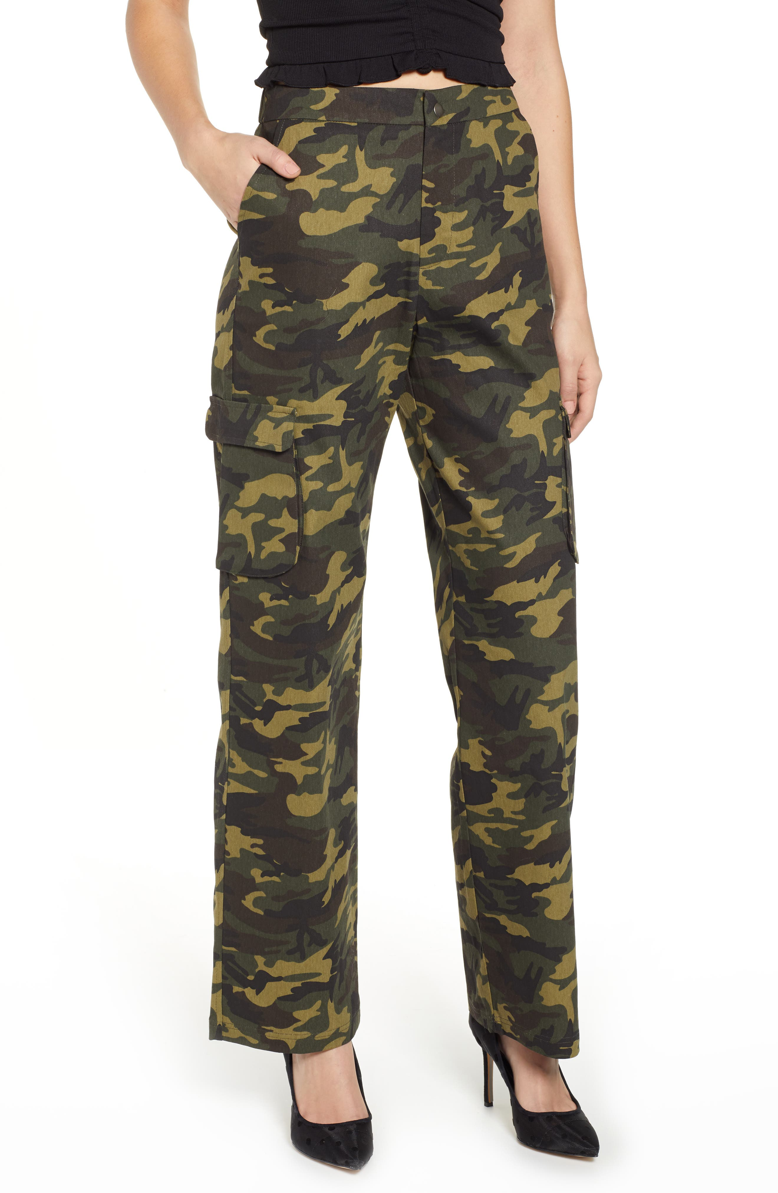 Keegan High Waist Straight Leg Pants, Main, color, GREEN CAMO