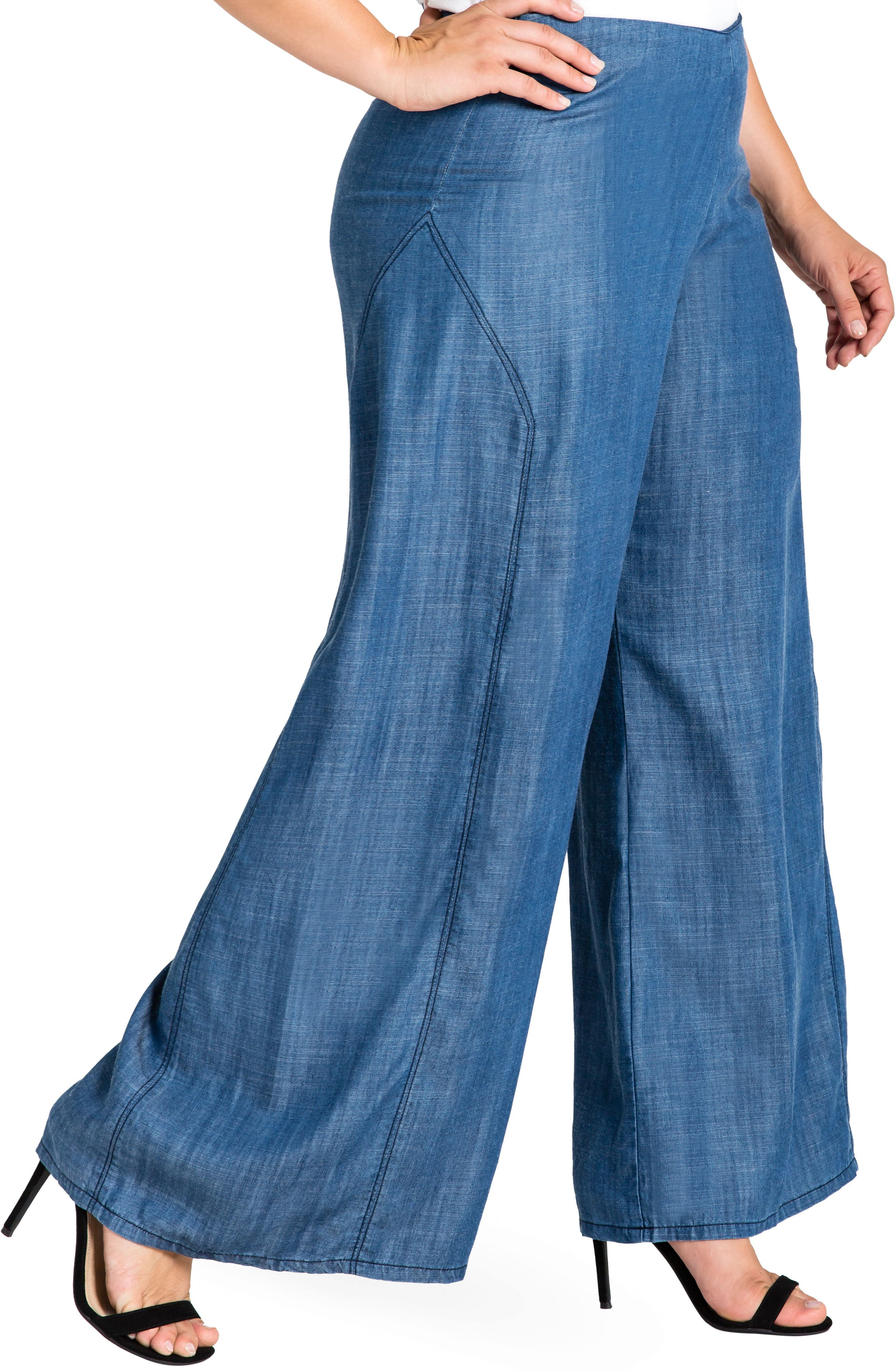 STANDARDS & PRACTICES,                             Perry Tencel<sup>®</sup> Denim Palazzo Pants,                             Alternate thumbnail 3, color,                             ALMOST RINSED