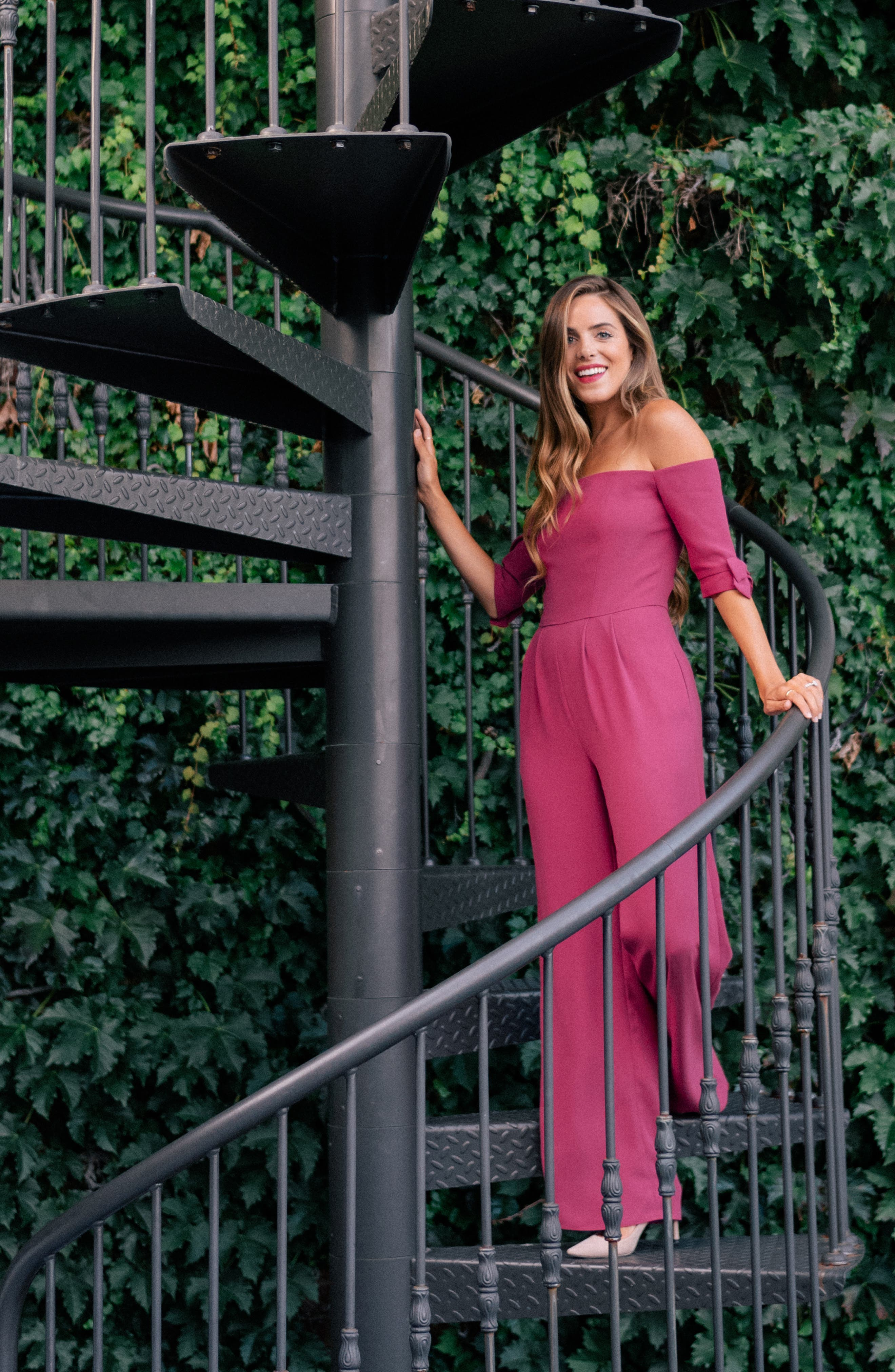 Meredith Crepe Off the Shoulder Jumpsuit,                             Alternate thumbnail 5, color,                             DEEP MAGENTA