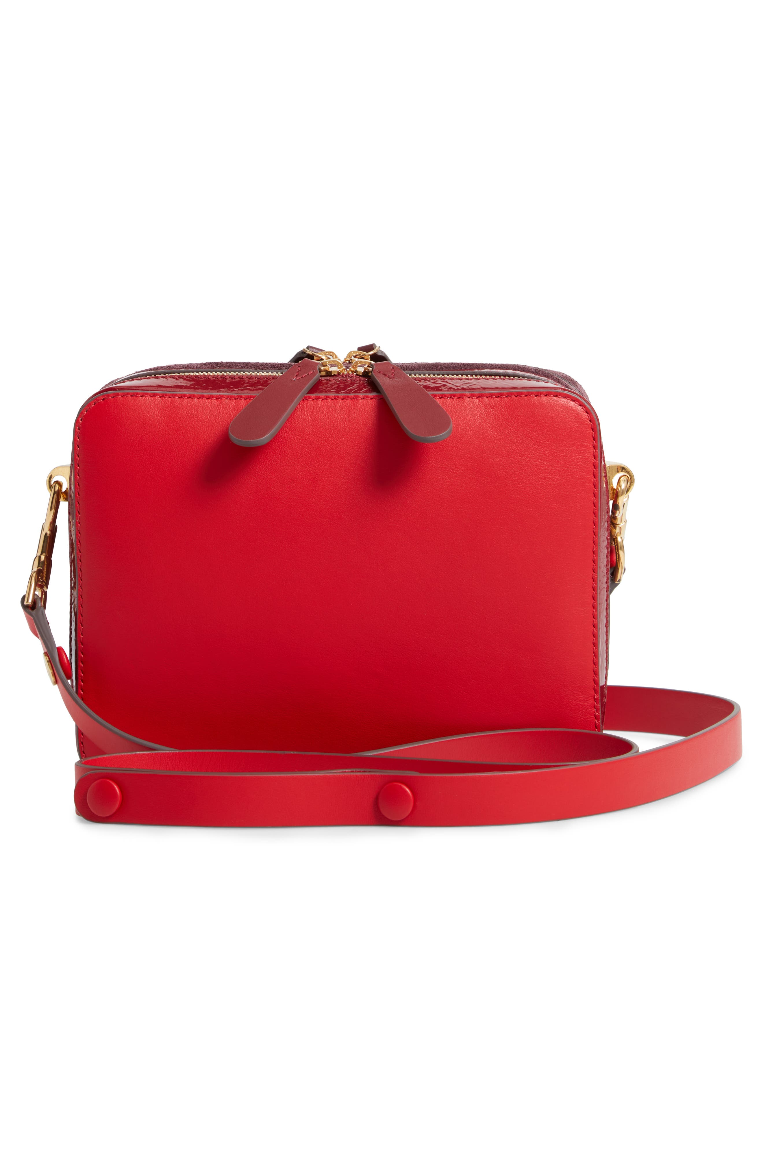 The Double Stack Leather Crossbody Bag,                             Alternate thumbnail 3, color,                             BRIGHT RED/ OXBLOOD