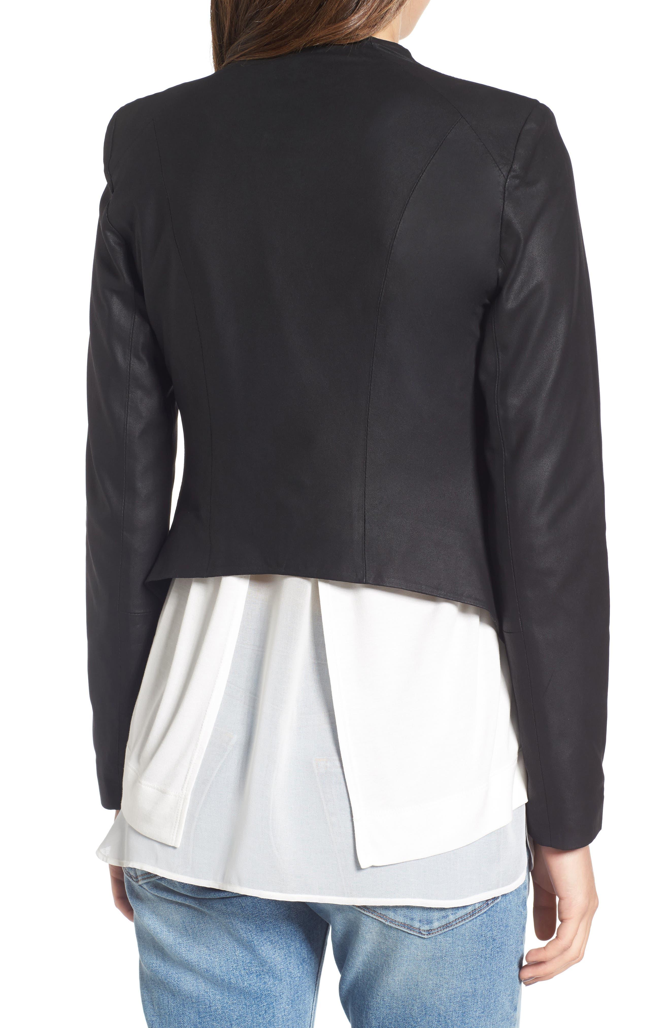 Brycen Leather Drape Front Jacket,                             Alternate thumbnail 2, color,                             001