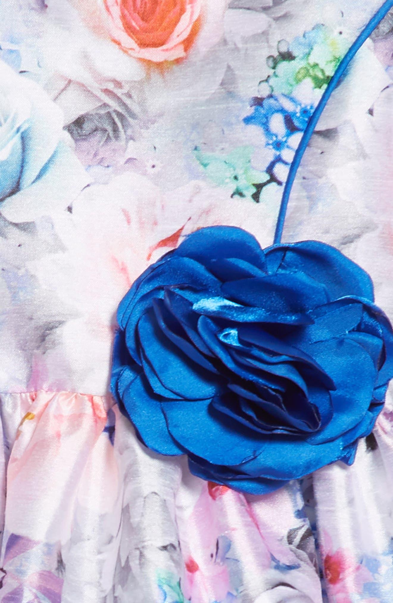 Floral Art Fit & Flare Dress,                             Alternate thumbnail 3, color,                             MULTI