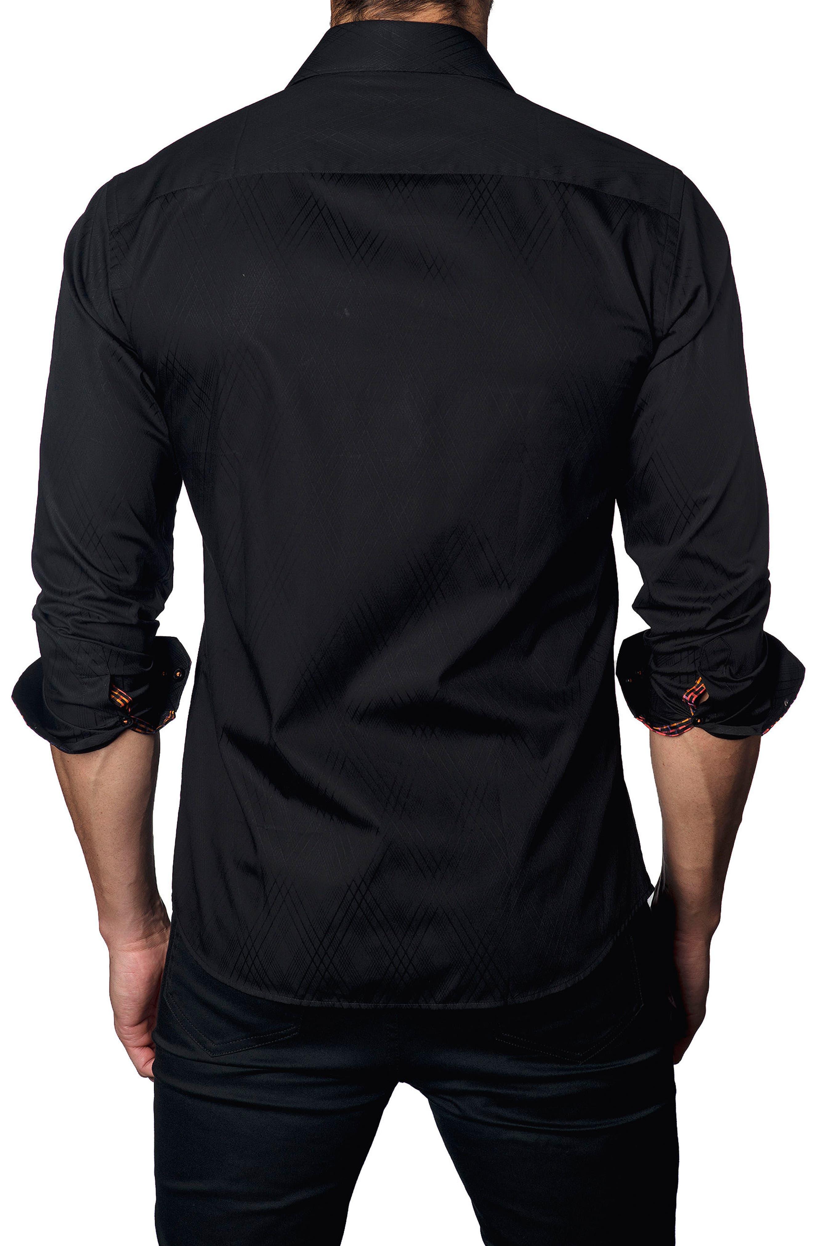 Trim Fit Diamond Jacquard Sport Shirt,                             Alternate thumbnail 2, color,                             001