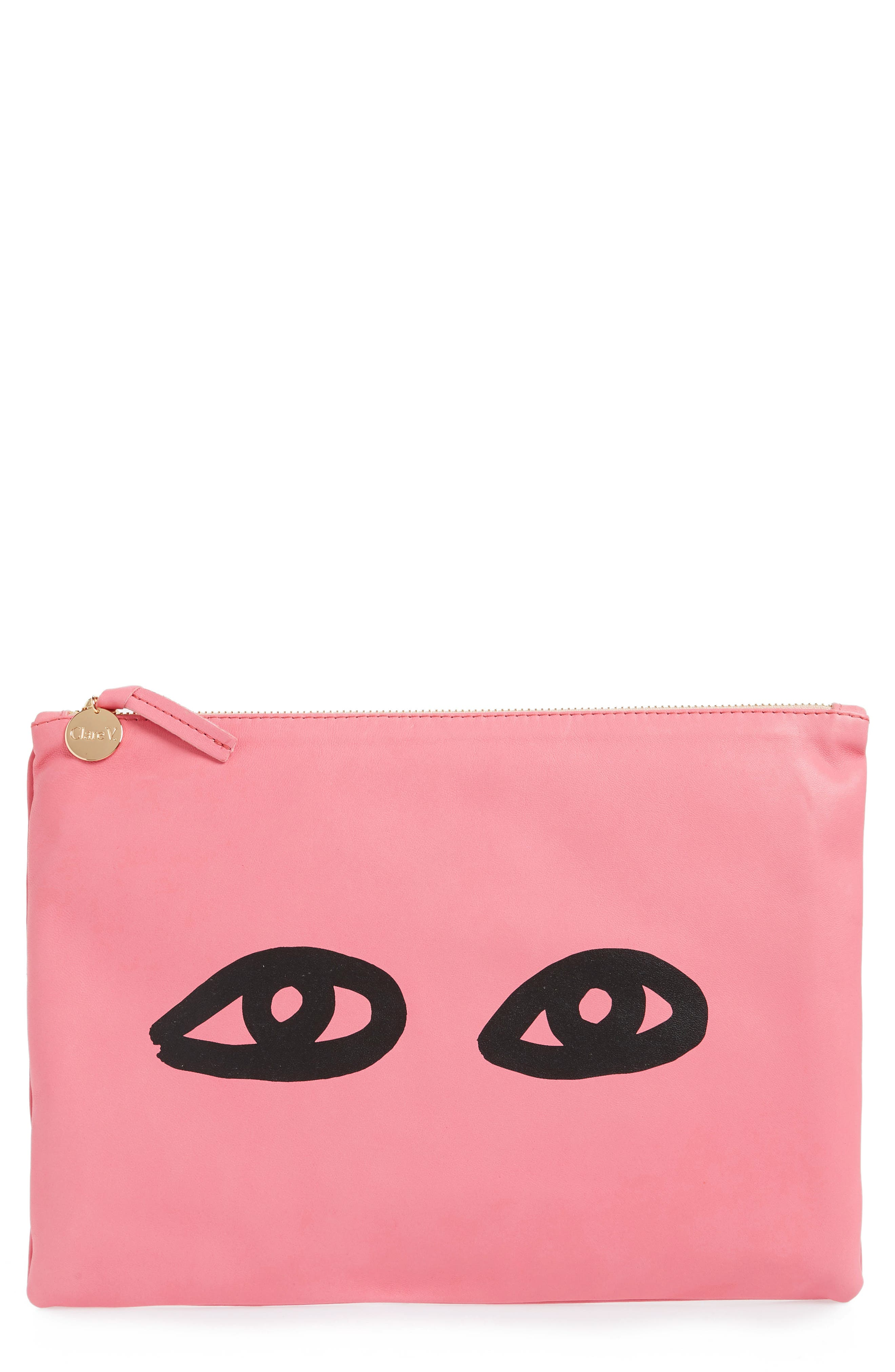 Eyes Leather Clutch,                             Main thumbnail 1, color,                             650