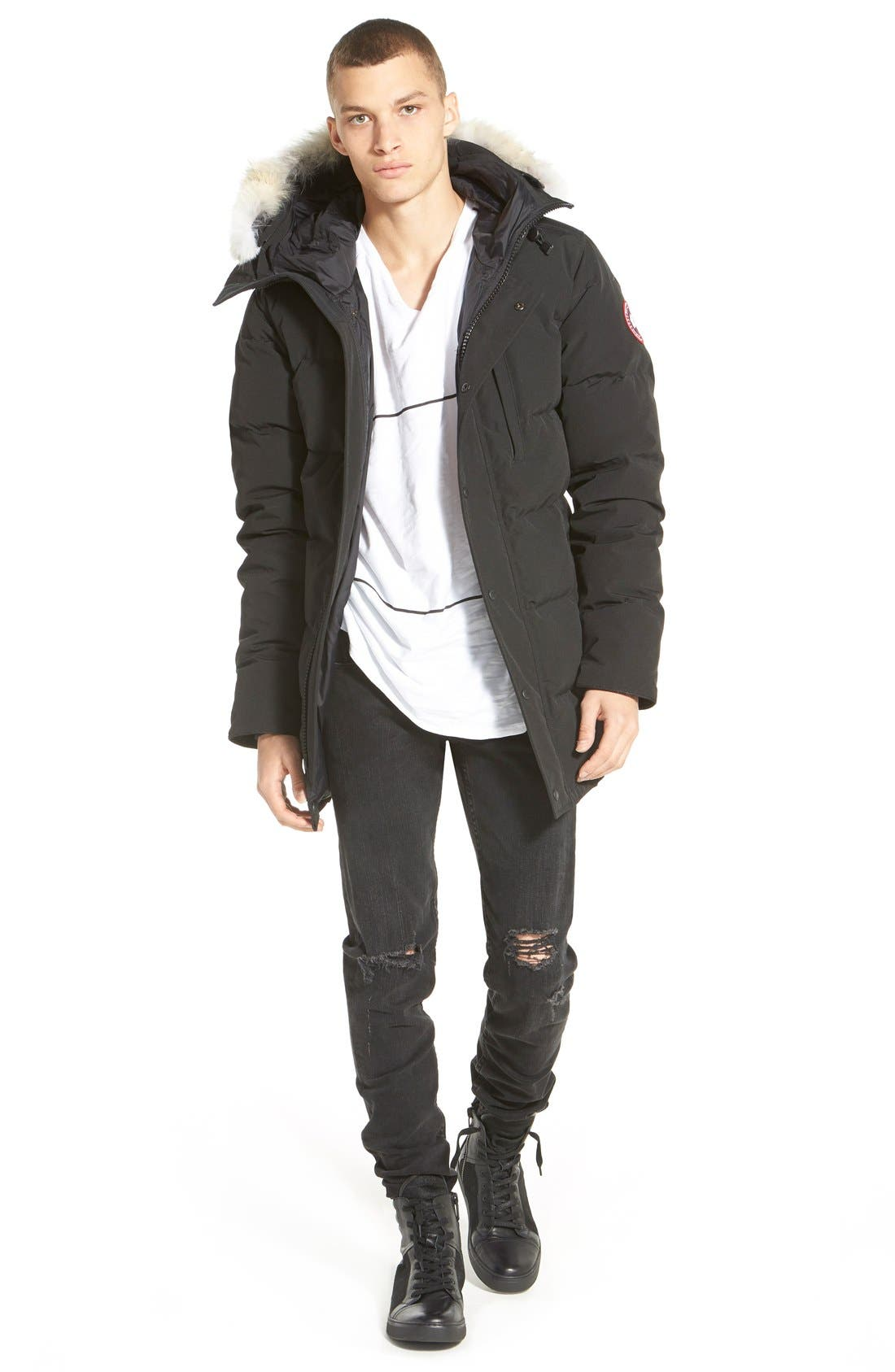 'Carson' Slim Fit Hooded Packable Parka with Genuine Coyote Fur Trim,                             Alternate thumbnail 9, color,                             GRAPHITE