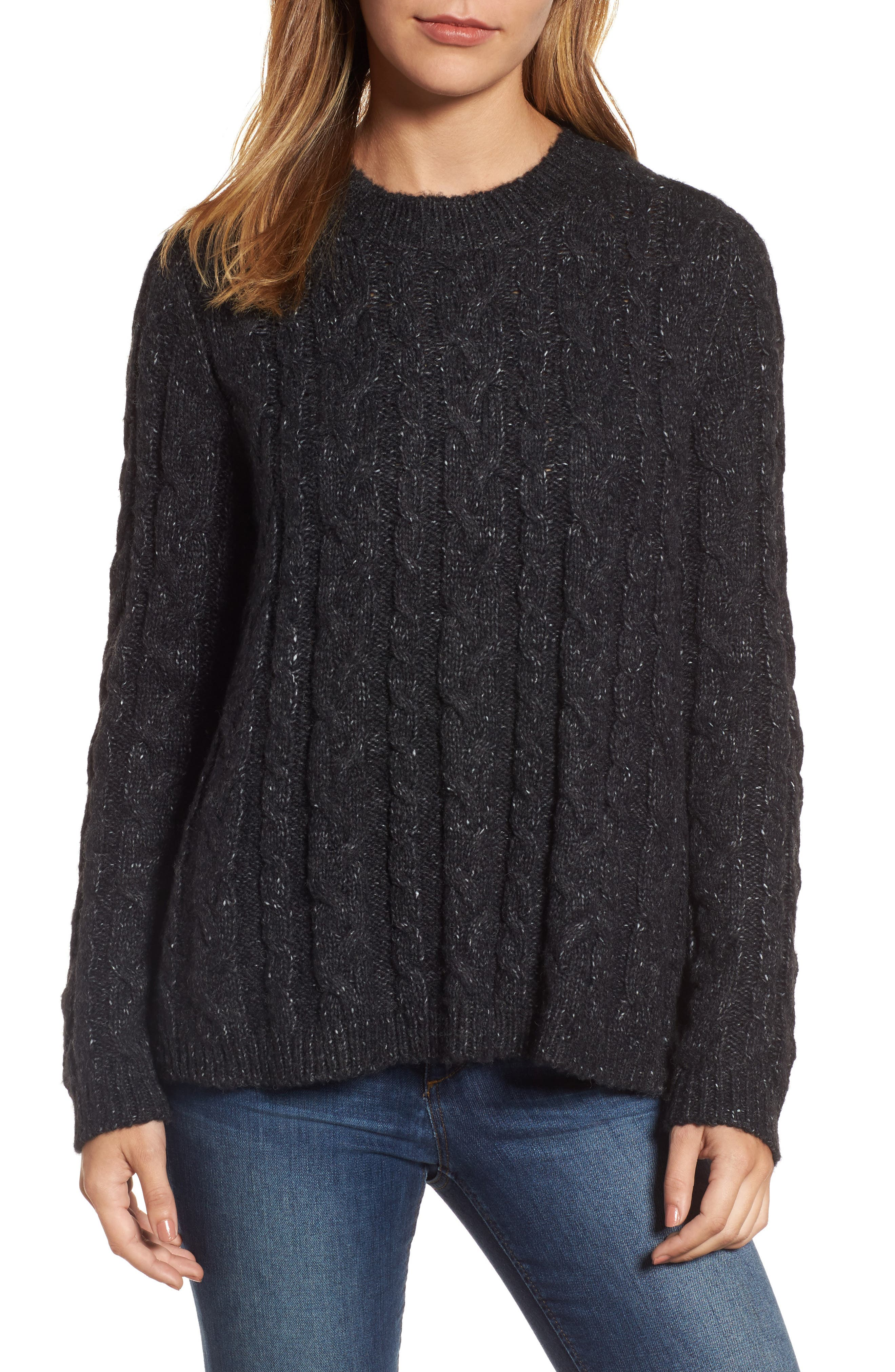 Trapeze Fit Cable Knit Sweater,                         Main,                         color, 001
