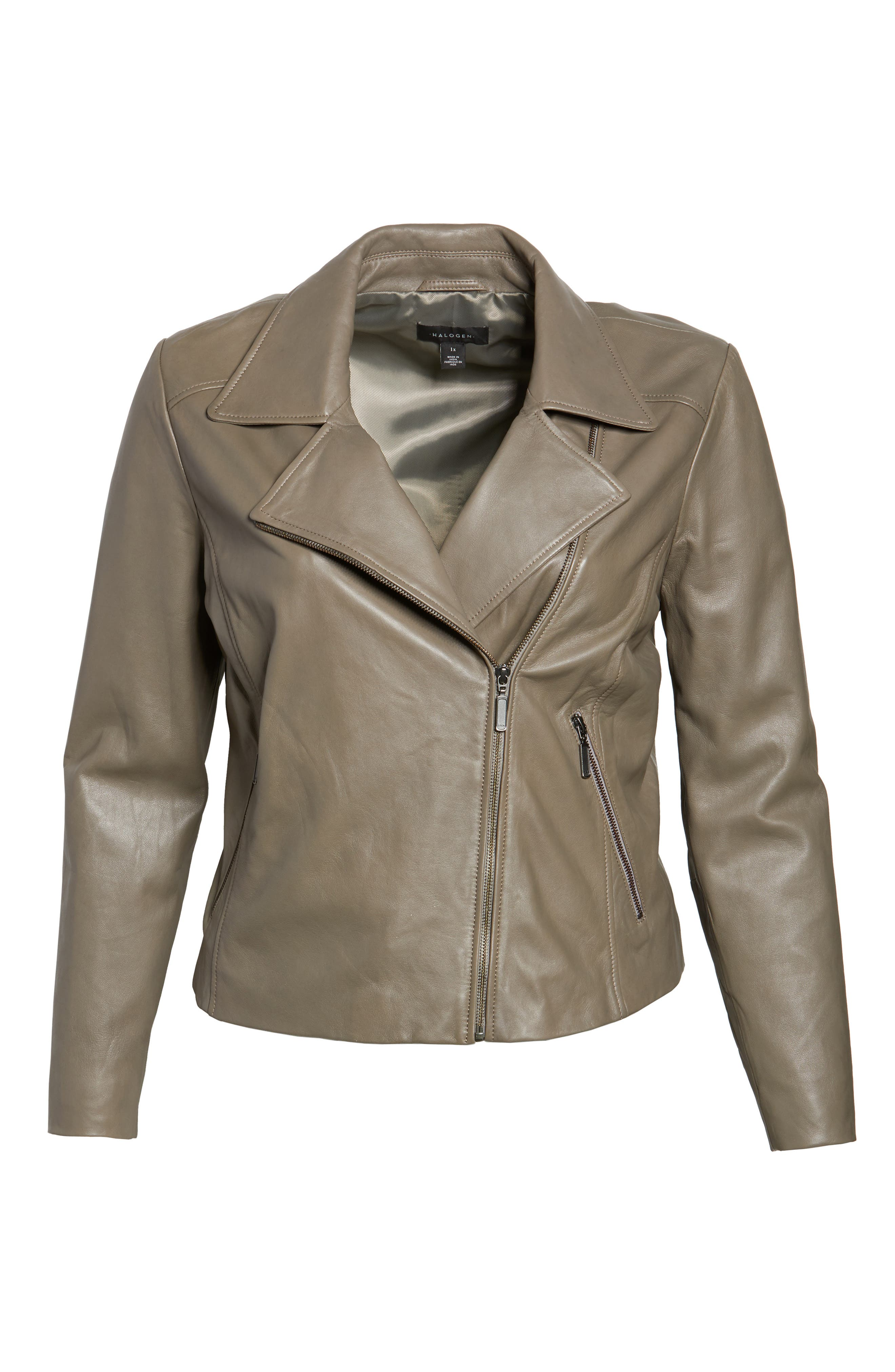 Leather Moto Jacket,                             Alternate thumbnail 13, color,