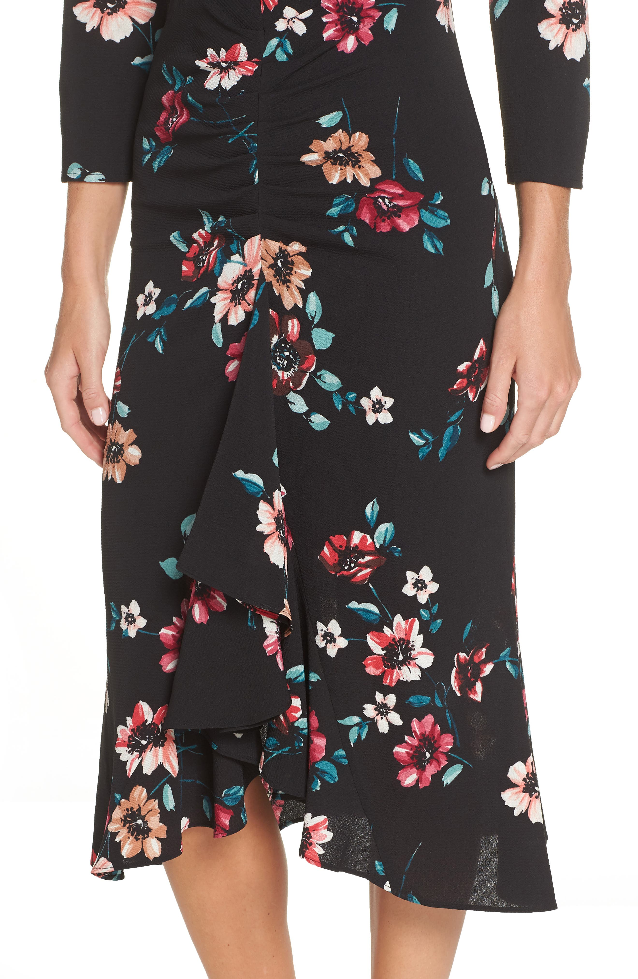 Floral Ruffle Midi Dress,                             Alternate thumbnail 4, color,                             001